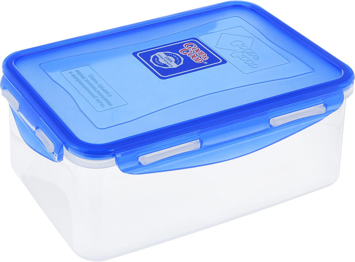 Контейнер Good&Good, цвет: прозрачный, синий, 1,5 л. B/COL 3-2ПЦ2356ЛМНКонтейнер  Good&Good изготовлен из высококачественного пластика. Изделие идеально подходит не только для хранения, но и для транспортировки пищи. Контейнер имеет крышку, которая плотно закрывается на 4 защелки и оснащена специальной силиконовой прослойкой, предотвращающей проникновение влаги, запахов и вытекание жидкости. Изделие подходит для домашнего использования, для пикников, поездок, отдыха на природе, его можно взять с собой на работу или учебу.Выдерживают температуру от -24°С до +125°С. Можно использовать в СВЧ-печах, холодильниках и морозильных камерах. Можно мыть в посудомоечной машине.Размер контейнера (без учета крышки): 18 х 11,5 см. Высота контейнера (без учета крышки): 8,5 см.