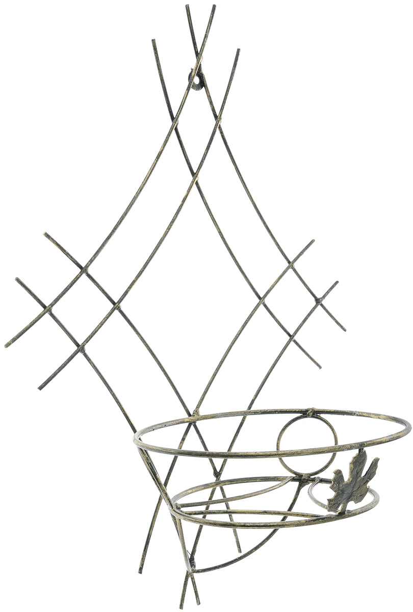 Подставка для цветов Фабрика ковки, настенная, на 1 цветок. 15-0011328246Кованая подставка Фабрика ковки станет прекрасным украшением любого интерьера. Она изготовлена из прочных металлических прутьев ивыполнена в виде сетки. Подставка предназначена для размещения одного цветка.Размер подставки: 51 х 34 х 21,5 см.Диаметр полки (по верхнему краю): 21 см.