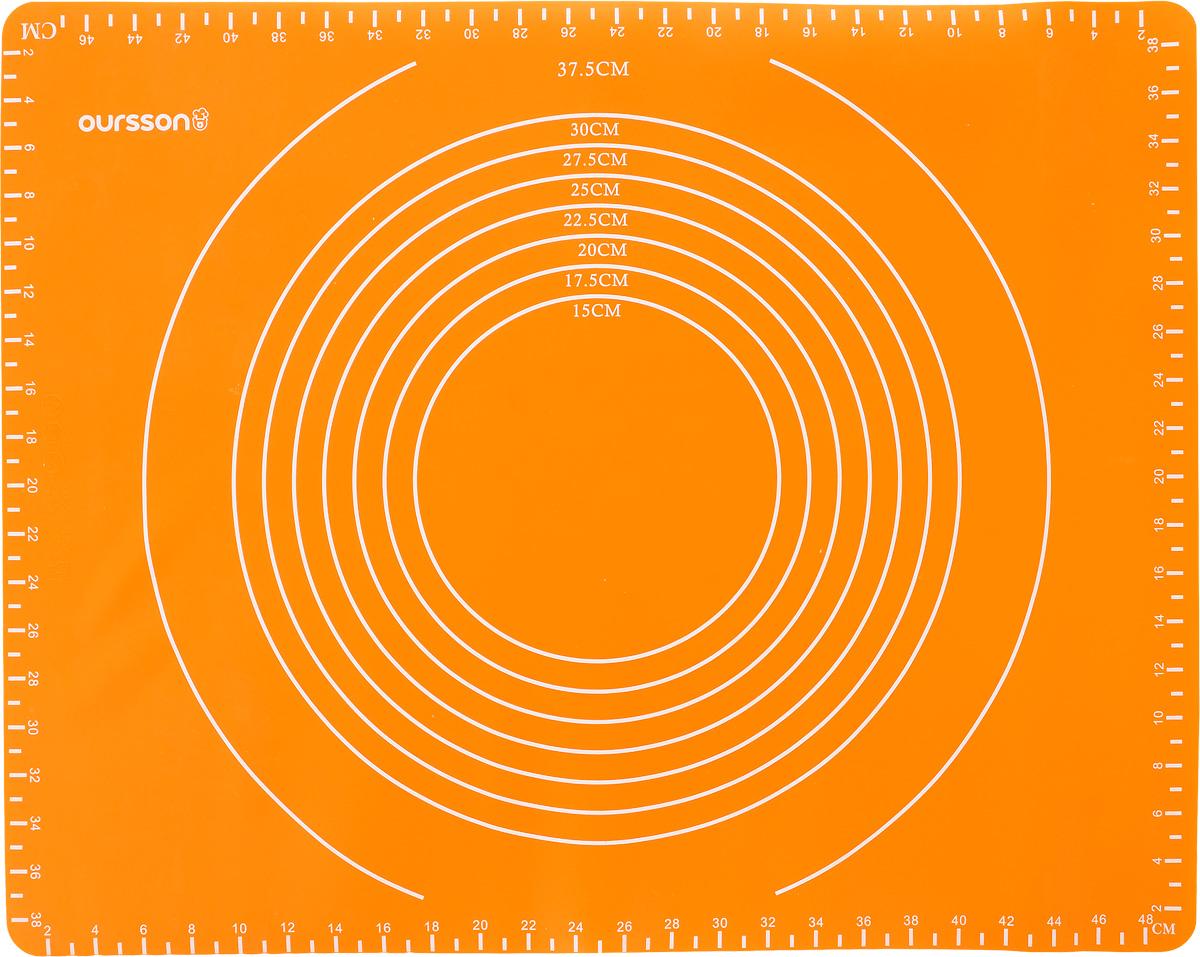 Коврик для выпечки Oursson, с разметкой, цвет: оранжевый, 50 х 40 см7762BH/12Антипригарный коврик для выпечки Oursson изготовлен из высококачественного силикона, способного выдерживать температуру от -20 до +220°С. Коврик позволяет готовить блюда в духовом шкафу без использования жира и масла. Исключает пригорание, способствует хорошему пропеканию изделий. Выпечка не прилипает к противню. Коврик легко очищается и моется. На коврик нанесена разметка, благодаря чему его удобно размещать как в прямоугольных, так и в круглых формах для выпечки.Коврик можно использовать в микроволновой печи, в духовом шкафу. Также подходит для хранения в холодильнике. Изделие можно мыть в посудомоечной машине.Размер коврика: 50 х 40 см. Максимальный размер прямоугольной формы: 46 х 38 см.Максимальный диаметр круглой формы: 37,5 см.