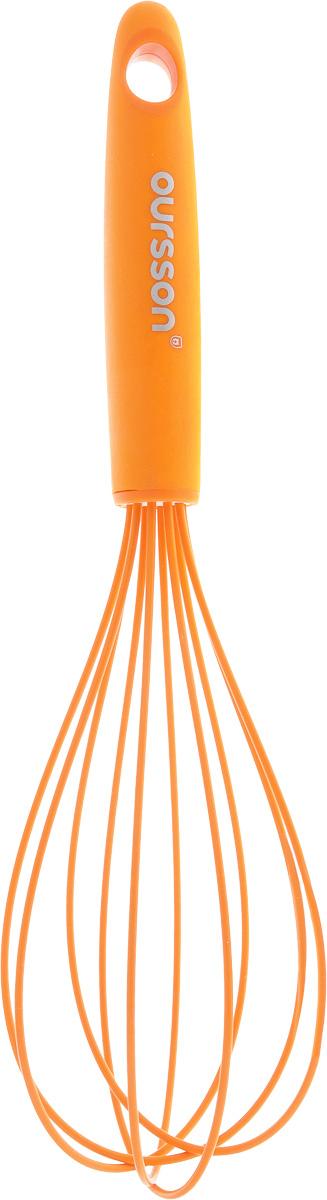Венчик Oursson, цвет: оранжевый, длина 30 см4484-2Венчик Oursson изготовлен из прочных качественных материалов (силикон на металлическом каркасе). Силикон выдерживает температуру от -20 до +220°C, поэтому венчик можно использовать в процессе приготовления холодных и горячих блюд.Предназначен для взбивания и обработки холодных и горячих блюд в посуде с антипригарным покрытием, в посуде из полированной нержавеющей стали, фарфора, керамики. Не повреждает поверхность.Удобная ручка не позволит выскользнуть венчику из вашей руки, сделает приятным процесс приготовления любого блюда. На ручке имеется петелька, за которую изделие можно подвесить в любом удобном для вас месте. Можно мыть в посудомоечной машине. Практичный и удобный венчик Oursson займет достойное место среди аксессуаров на вашей кухне.Длина венчика: 30 см.Размер рабочей поверхности: 17 х 8 х 8 см.