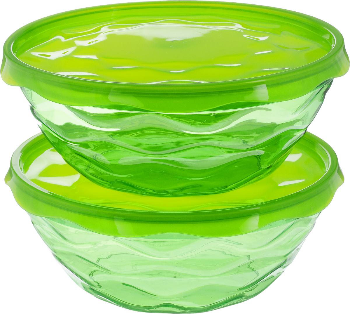 Набор салатников Giaretti Riva, с крышками, цвет: зеленый, 2 шт. GR185954 009312Набор Giaretti Riva, состоящий из двух салатниц с плотно закрывающимисякрышками, сочетает в себе изысканный дизайн с максимальной функциональностью. Салатники выполнены из высококачественного пластика. Такой набор прекрасно подходит как для хранения продуктов в холодильнике, так и для сервировки стола.Можно мыть в посудомоечной машине.Характеристика салатницы №1 и №2: Объем: 2,5 л.Диаметр (по верхнему краю): 23 см. Высота стенки: 9 см. Диаметр крышки: 24,5 см.