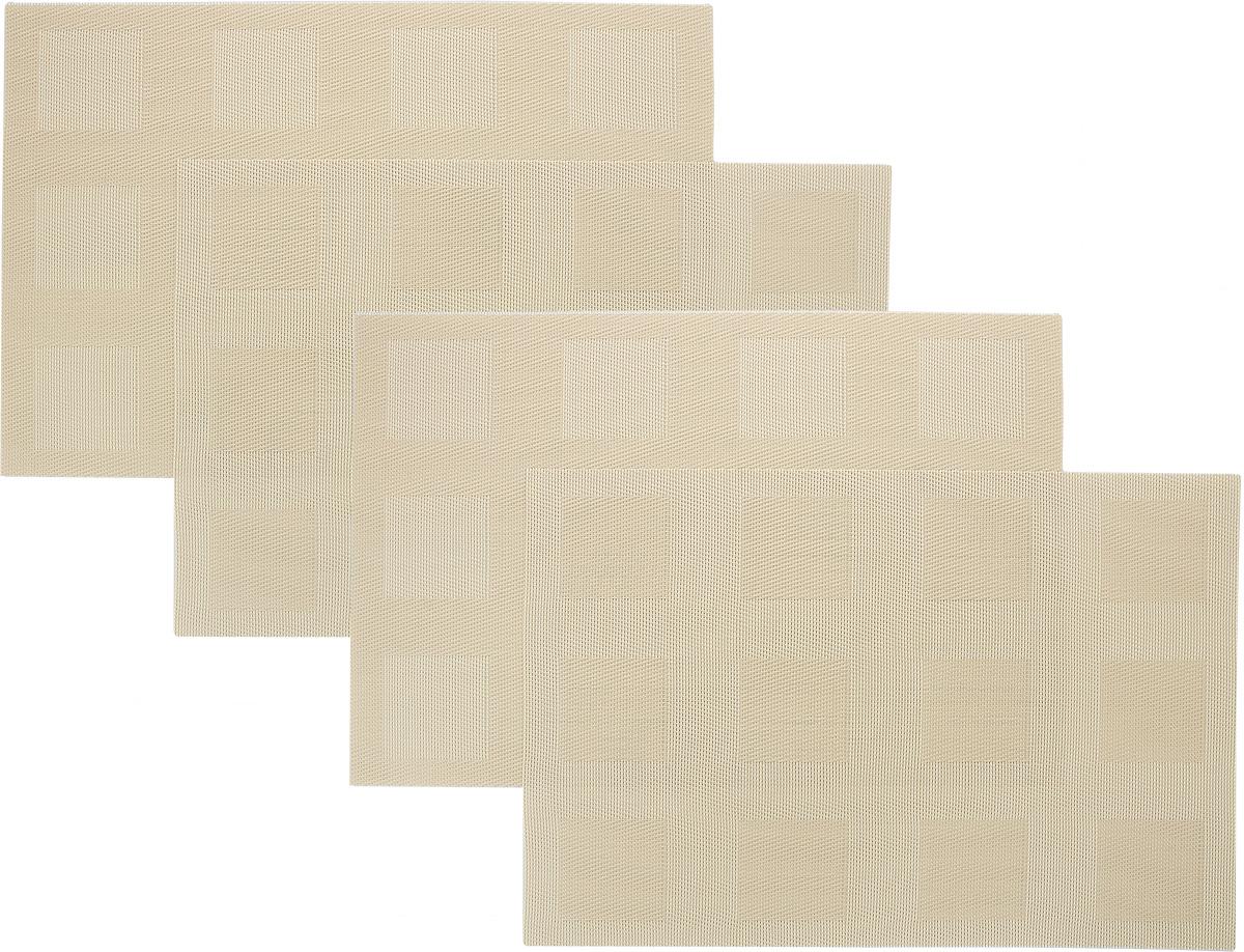 Набор сервировочных салфеток Oursson Клетка, цвет: бежевый, 30 х 45 см, 4 штHS89594/MCНабор Oursson Клетка состоит из 4 салфеток, изготовленных на 70% из ПВХ и на 30% из полиэстера, они не впитывают влагу и легко моются.Набор салфеток предназначен для сервировки стола и украшения интерьера кухни, столовой или гостиной. Для ухода за салфетками можно использовать любые моющие средства. Необычный дизайн, практичность и высокая износостойкость делают салфетки удобным и полезным аксессуаром для дома.Салфетка станет прекрасным завершающим элементом в сервировке стола. С ней любой ужин будет как праздничный.Размер: 30 х 45 см.