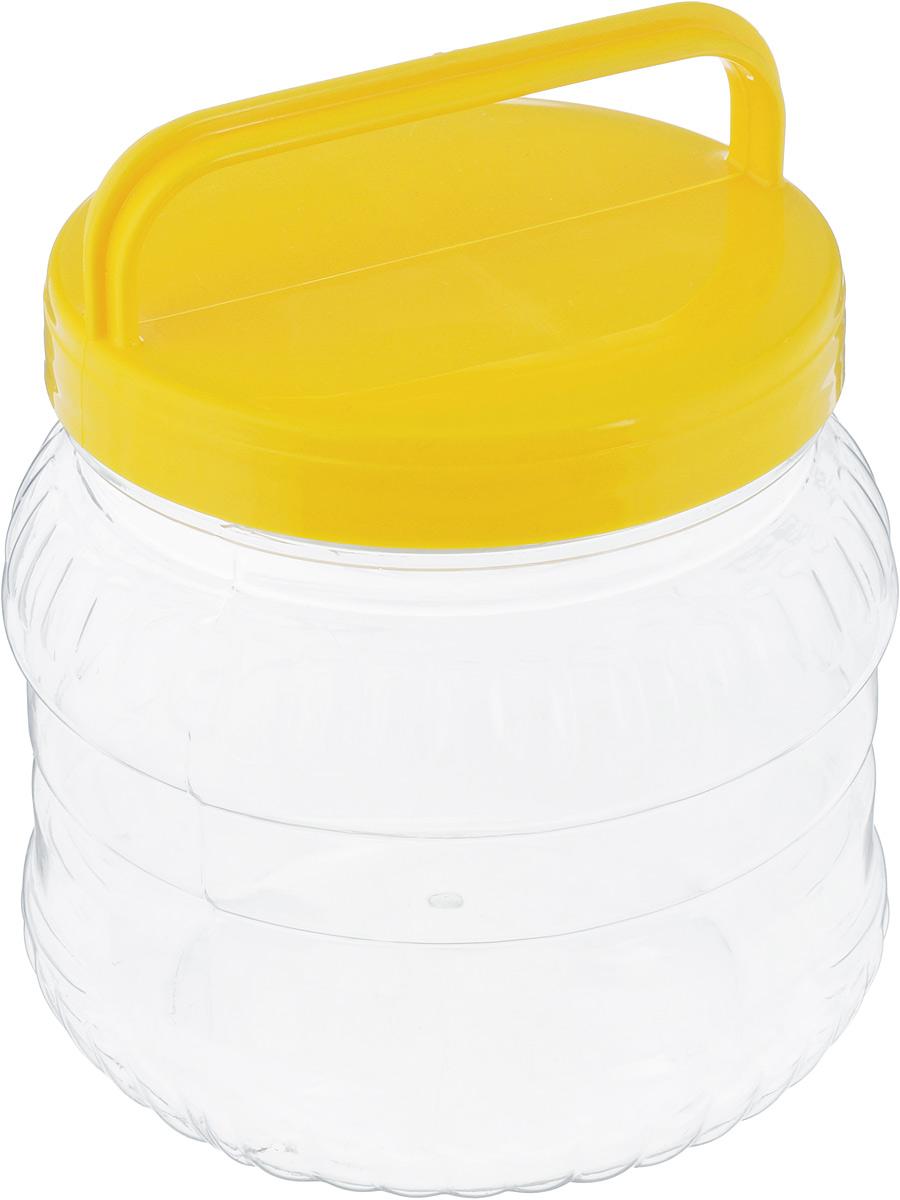 Бидон Альтернатива, цвет: прозрачный, желтый, 1 лVT-1520(SR)Бидон Альтернатива, выполненный из высококачественного пластика, предназначен для хранения сыпучих продуктов или жидкостей. Крышка оснащена ручкой для удобной переноски.Высота бидона (без учета крышки): 12 см.Диаметр по верхнему краю: 10,5 см.