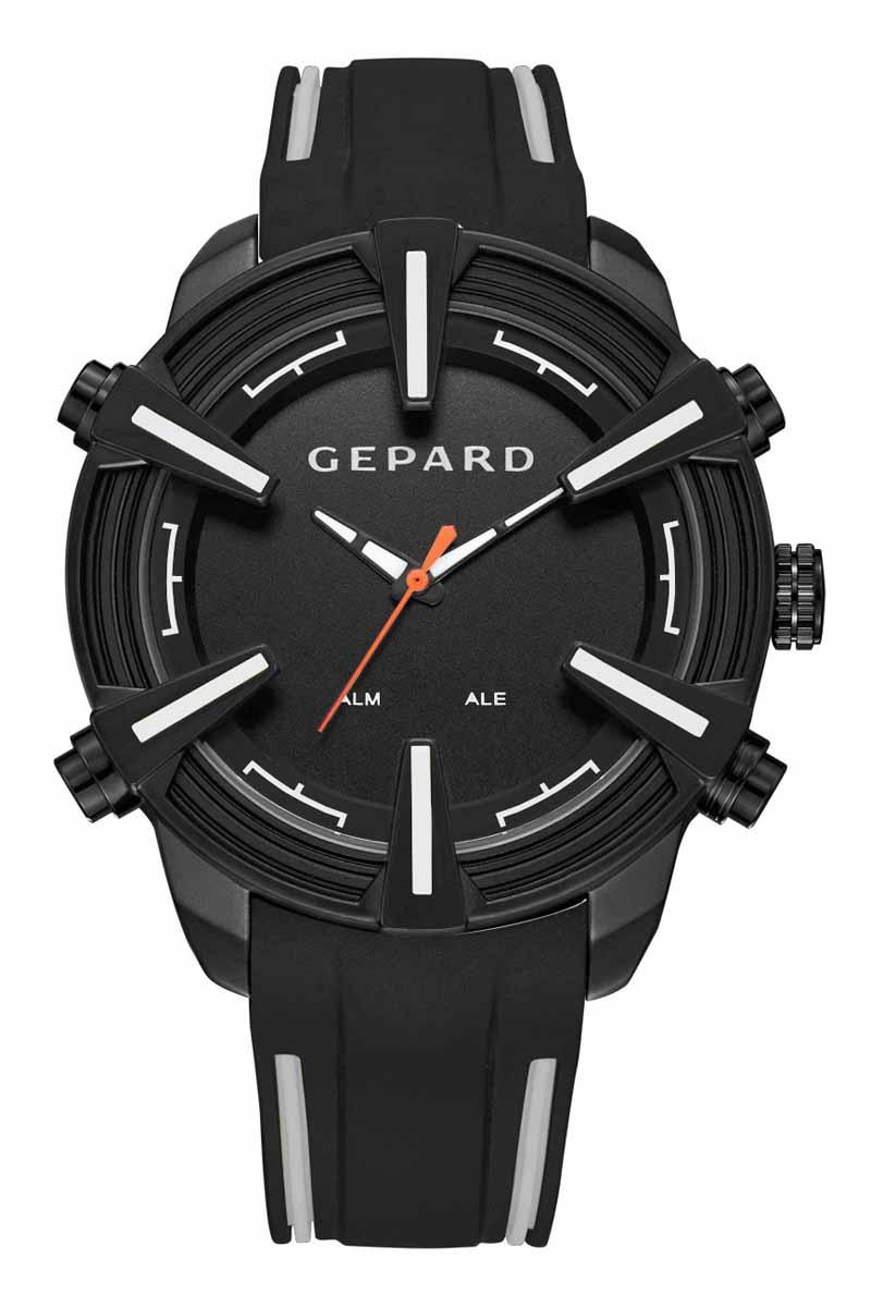 Часы наручные мужские Gepard, цвет: черный, белый. 1236A11L4BP-001 BKНаручные кварцевые часы Gepard выполнены из высококачественных материалов. Время этих часов отображается не только посредством стрелок, но и светящимися белыми цифрами электронного механизма, появляющимися на 3 секунды при нажатии на любую из четырех кнопок. Выбор черного покрытия корпуса обусловлен его стойкостью к внешним воздействиям в сочетании с эстетической привлекательностью. Часовая индикация выполнена на венчике корпуса в виде крупных объемных знаков с серым заполнением. Эстетика контрастных полос продолжается в дизайне силиконового ремня, укомплектованного надежной пряжкой. Модель комплектуется двумя типами механизма-аналоговым и электронным, производства Японии.