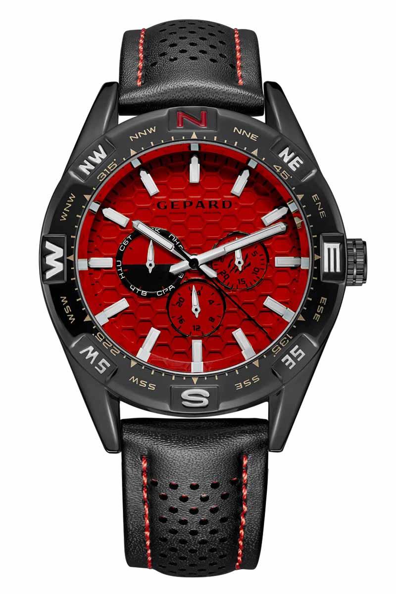Часы наручные мужские Gepard, цвет: черный, красный. 1237A11L2BM8434-58AEНаручные кварцевые часы Gepard выполнены из высококачественных материалов. Циферблат тщательно декорирован. Показания дополнительных функций сложного механизма удобно скомпонованы на красном поле. У отметки 3 часа-день месяца, у 9 часов-день недели, у 6 часов-24-часовая шкала. Часовая индикация выполнена по принципу контраста-большие накладные знаки и стальные стрелки с белым заполнением. Черный, перфорированный по центру, ремень с контрастной красной прострочкой дополнен надежной и удобной пряжкой.