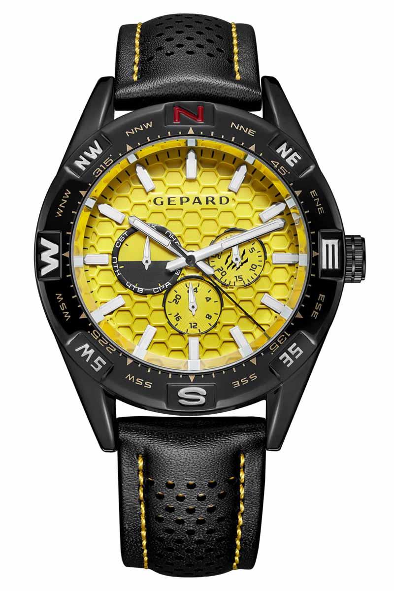 Часы наручные мужские Gepard, цвет: черный, желтый. 1237A11L34106черныеНаручные кварцевые часы Gepard выполнены из высококачественных материалов. Циферблат тщательно декорирован. Показания дополнительных функций сложного механизма удобно скомпонованы на желтом поле. У отметки 3 часа-день месяца, у 9 часов-день недели, у 6 часов-24-часовая шкала. Часовая индикация выполнена по принципу контраста-большие накладные знаки и стальные стрелки с белым заполнением. Черный, перфорированный по центру, ремень с контрастной желтой прострочкой дополнен надежной и удобной пряжкой.