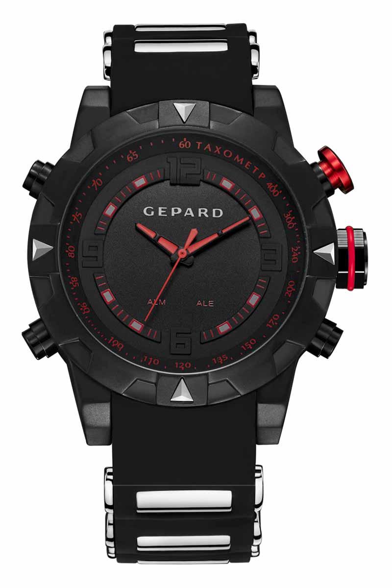 Часы наручные мужские Gepard, цвет: черный, красный. 1238A11L1BM8434-58AEНаручные кварцевые часы Gepard выполнены из высококачественных материалов. Спортивный дизайн подчеркнут использованием двух абсолютно разных типов японских механизмов-аналогового и электронного. Яркие цифры, загорающиеся при нажатии любой из кнопок, крайне полезная функция. Часы выпускаются в крупном корпусе с черным коррозионностойким покрытием. Крупные детали венчика сочетаются со стальными элементами силиконового ремня. Контрастные красные стрелки аналогового механизма движутся вдоль объемной арабской часовой оцифровки и красной шкалы минутной дорожки.