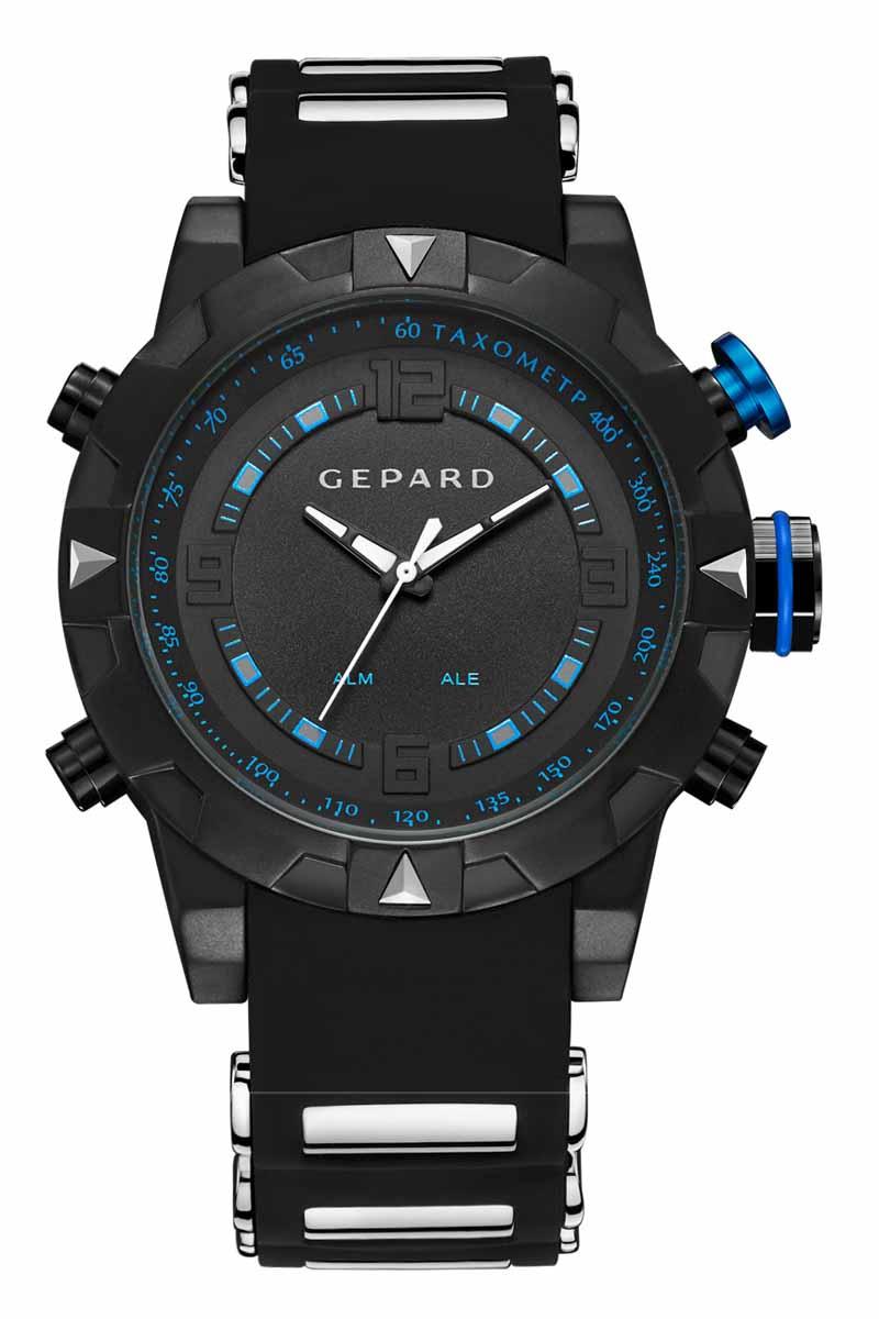 Часы наручные мужские Gepard, цвет: черный, синий. 1238A11L2EQW-M710DB-1A1Наручные кварцевые часы Gepard выполнены из высококачественных материалов. Спортивный дизайн подчеркнут использованием двух абсолютно разных типов японских механизмов-аналогового и электронного. Яркие цифры, загорающиеся при нажатии любой из кнопок, крайне полезная функция. Часы выпускаются в крупном корпусе с черным коррозионностойким покрытием. Крупные детали венчика сочетаются со стальными элементами силиконового ремня. Контрастные белые стрелки аналогового механизма движутся вдоль объемной арабской часовой оцифровки и синей шкалы минутной дорожки.