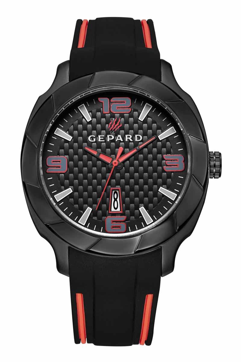 Часы наручные мужские Gepard, цвет: черный, красный. 1239A11L1BM8434-58AEНаручные кварцевые часы Gepard выполнены из высококачественных материалов. Безупречная эстетика подчеркивается черным циферблатом с контрастно выделяющимися стильными арабскими цифрами серого цвета с красной окантовкой и знаками. Широкие стрелки заполнены красной массой.Часы комплектуются кварцевым механизмом с календарем, производства фирмы MiyotaSitizen (Япония). Силиконовый ремень с надежной пряжкой делает модель более удобной и практичной.