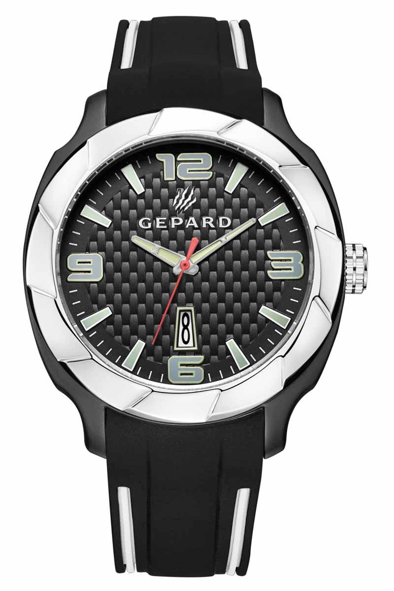 Часы наручные мужские Gepard, цвет: черный, серебристый. 1239A12L3BM8434-58AEНаручные кварцевые часы Gepard выполнены из высококачественных материалов. Поверхность, напоминающая детали элитного автомобиля, намекают на высокую точность и надежность часов.Безупречная эстетика подчеркивается черным циферблатом с контрастно выделяющимися стильными арабскими цифрами серого цвета и знаками. Широкие стрелки заполнены белой массой.Часы комплектуются кварцевым механизмом с календарем, производства фирмы MiyotaSitizen (Япония). Силиконовый ремень с надежной пряжкой делает модель более удобной и практичной.