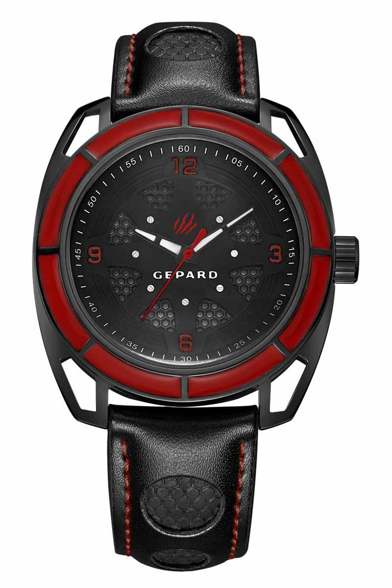 Часы наручные мужские Gepard, цвет: черный, красный. 1243A11L1BM8434-58AEНаручные кварцевые часы Gepard выполнены из высококачественных материалов. Эти часы обладают всеми характерными признаками коллекции Гепард. Стильный спортивный дизайн, преобладание черного цвета, контрастные детали и высокоточный кварцевый механизм. Сектора красного цвета на венчике подчеркиваются смелым дизайном ушей с пустотами и часовой индикацией на темном, двухуровневом циферблате. Японский механизм, производства фирмы MiyotaSitizen, оснащен часовой, минутной и секундной стрелками. Завершающим штрихом модели является черный гладкий ремень с фактурными вставками и контрастной прострочкой.