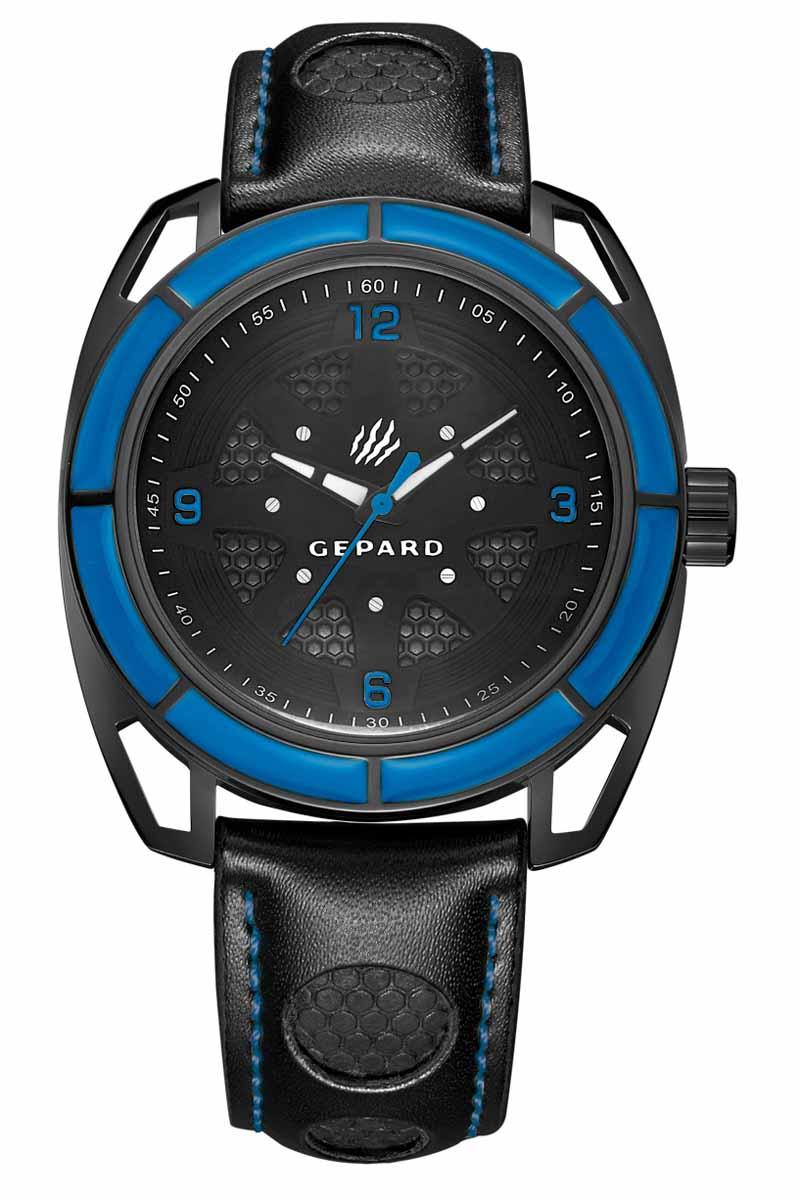 Часы наручные мужские Gepard, цвет: черный, синий. 1243A11L2BM8434-58AEНаручные кварцевые часы Gepard выполнены из высококачественных материалов. Эти часы обладают всеми характерными признаками коллекции Гепард. Стильный спортивный дизайн, преобладание черного цвета, контрастные детали и высокоточный кварцевый механизм. Сектора синего цвета на венчике подчеркиваются смелым дизайном ушей с пустотами и часовой индикацией на темном, двухуровневом циферблате. Японский механизм, производства фирмы MiyotaSitizen, оснащен часовой, минутной и секундной стрелками. Завершающим штрихом модели является черный гладкий ремень с фактурными вставками и контрастной прострочкой.