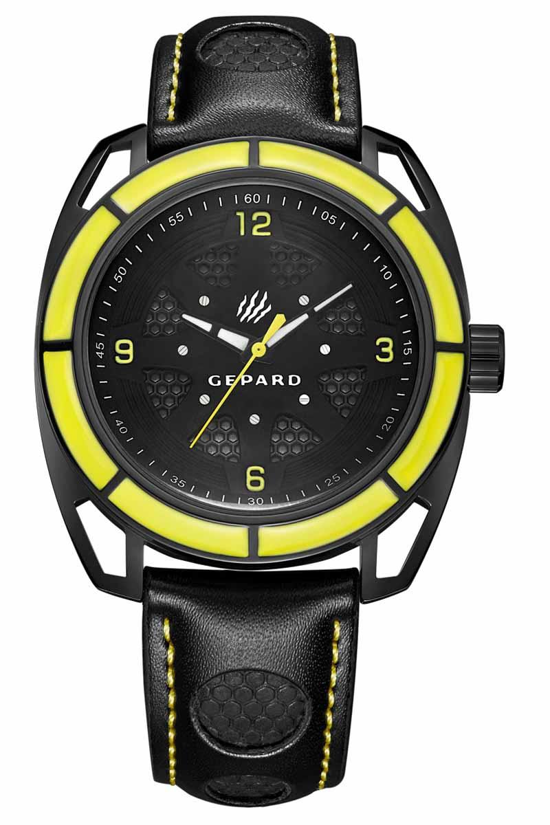 Часы наручные мужские Gepard, цвет: черный, желтый. 1243A11L3BM8434-58AEНаручные кварцевые часы Gepard выполнены из высококачественных материалов. Эти часы обладают всеми характерными признаками коллекции Гепард. Стильный спортивный дизайн, преобладание черного цвета, контрастные детали и высокоточный кварцевый механизм. Сектора желтого цвета на венчике подчеркиваются смелым дизайном ушей с пустотами и часовой индикацией на темном, двухуровневом циферблате. Японский механизм, производства фирмы MiyotaSitizen, оснащен часовой, минутной и секундной стрелками. Завершающим штрихом модели является черный гладкий ремень с фактурными вставками и контрастной прострочкой.