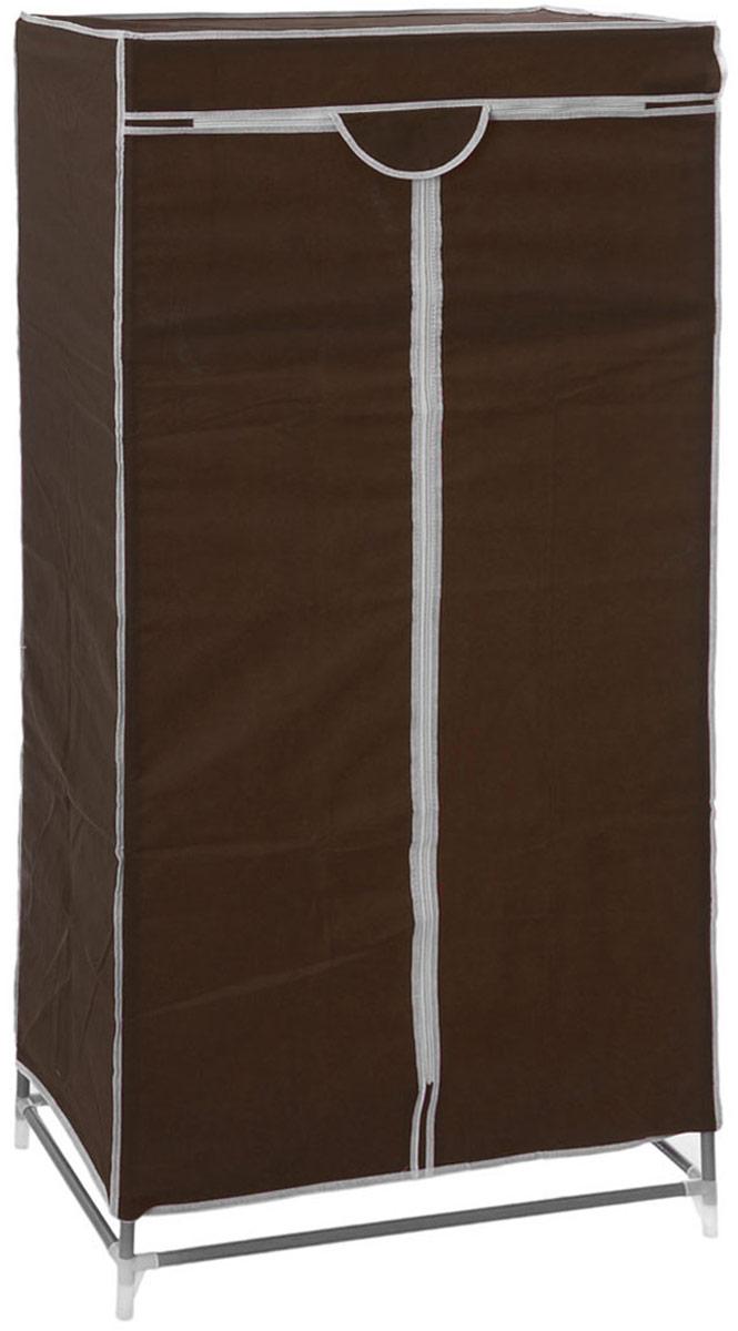 Мобильный шкаф для одежды Sima-land, цвет: темно-коричневый, 90 х 45 х 145 см. 888799CM000001326Мобильный шкаф для одежды Sima-land, предназначенный для хранения одежды и других вещей, это отличное решение проблемы, когда наблюдается явный дефицит места или есть временная необходимость. Складной тканевый шкаф - это мобильная конструкция, состоящая из сборного металлического каркаса, на который натянут чехол из нетканого полотна. Корпус шкафа сделан из легкой, но прочной стали, а обивка из полиэстера, который можно легко стирать в стиральной машинке. Шкаф оснащен двумя текстильными дверями, которые закрываются на застежку-молнию. Шкаф снабжен полкой и планкой для хранения вещей на вешалках.