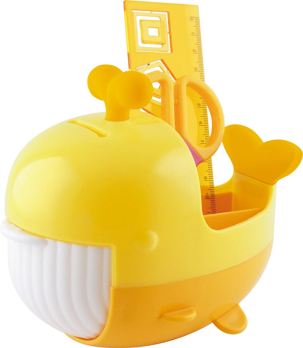 Brauberg Канцелярский набор Кит цвет желтый оранжевый 4 предметаFS-00103Канцелярский набор Brauberg Кит выполнен из высококачественного яркого пластика и позволяет практично, удобно и оригинально организовать место для учебы и развлечений ребенка.Подставка для канцелярских принадлежностей выполнена в виде кита с открывающейся пастью, внутри которой располагается дополнительное отделение для хранения. Хвост кита и фонтанчик на его голове являются съемными ластиками. В набор также входят сантиметровая линейка с вырубками-трафаретами в виде геометрических фигур, безопасные ножницы, ластик, канцелярские скрепки. Необычный канцелярский набор понравится любому школьнику и сделает учебу более интересной.