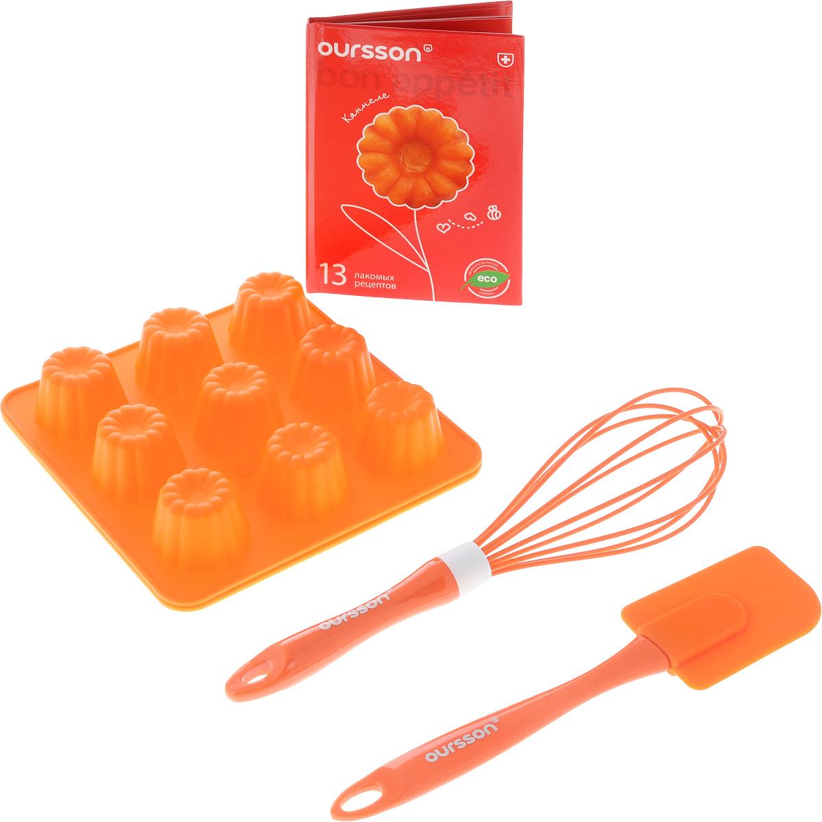 Набор для выпечки Oursson, цвет: оранжевый, 5 предметов68/5/4Набор для выпечки Oursson состоит из двух силиконовых форм для выпечки, венчика и лопатки. Каждая форма содержат по 9 ячеек. Силиконовые формы для выпечки имеют множество преимуществ по сравнению с традиционными металлическими формами и противнями. Нет необходимости смазывать формы маслом. Они быстро нагреваются и равномерно пропекают выпечку. Выпечка в таких формах не пригорает. Формы легко моются.Лопатка и венчик выполнены из пластика и силикона. Изделия оснащены петельками для подвешивания. В комплект входит книга с 10 рецептами каннеле. Формы можно использовать в духовках и микроволновых печах (выдерживает температуру от -20°С до +220°С), также их можно помещать в морозильную камеру и холодильник. Можно мыть в посудомоечной машине. Размер формы: 16,5 х 16,5 х 3 см.Размер ячейки: 4 х 4 х 3 см.Длина венчика: 25 см.Длина лопатки: 23 см.