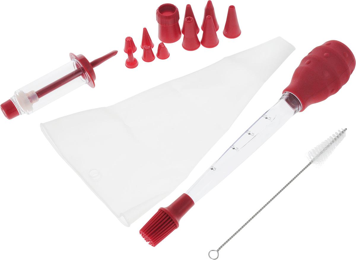 Набор кондитерский Oursson, цвет: темно-красный, 15 предметов94672Набор Oursson состоит кондитерского шприца с 5 насадками, кондитерского мешка с насадкой-фиксатором и 5 фигурными насадками и кисточки с дозатором. Насадки, выполненные из пластика, имеют разное сечение и профиль. С их помощью украсить торт можно различными способами. Мешок, изготовленный из силикона, и шприц, выполненный из пластика, предназначены для украшения кондитерских изделий. Кондитерская кисточка с дозатором предназначена для дозирования кулинарных смесей и нанесения их на выпечку. Кисточка имеет шкалу до 30 мл. В комплект входит щеточка для очистки изделий набора. Кондитерский набор Oursson поможет вам в создании разнообразных и оригинальных кулинарных шедевров. Можно мыть в посудомоечной машине. Размер мешка: 19,5 х 33,5 см.Длина кисточки: 34 см. Количество насадок: 11 шт. Длина щетки: 23 см.