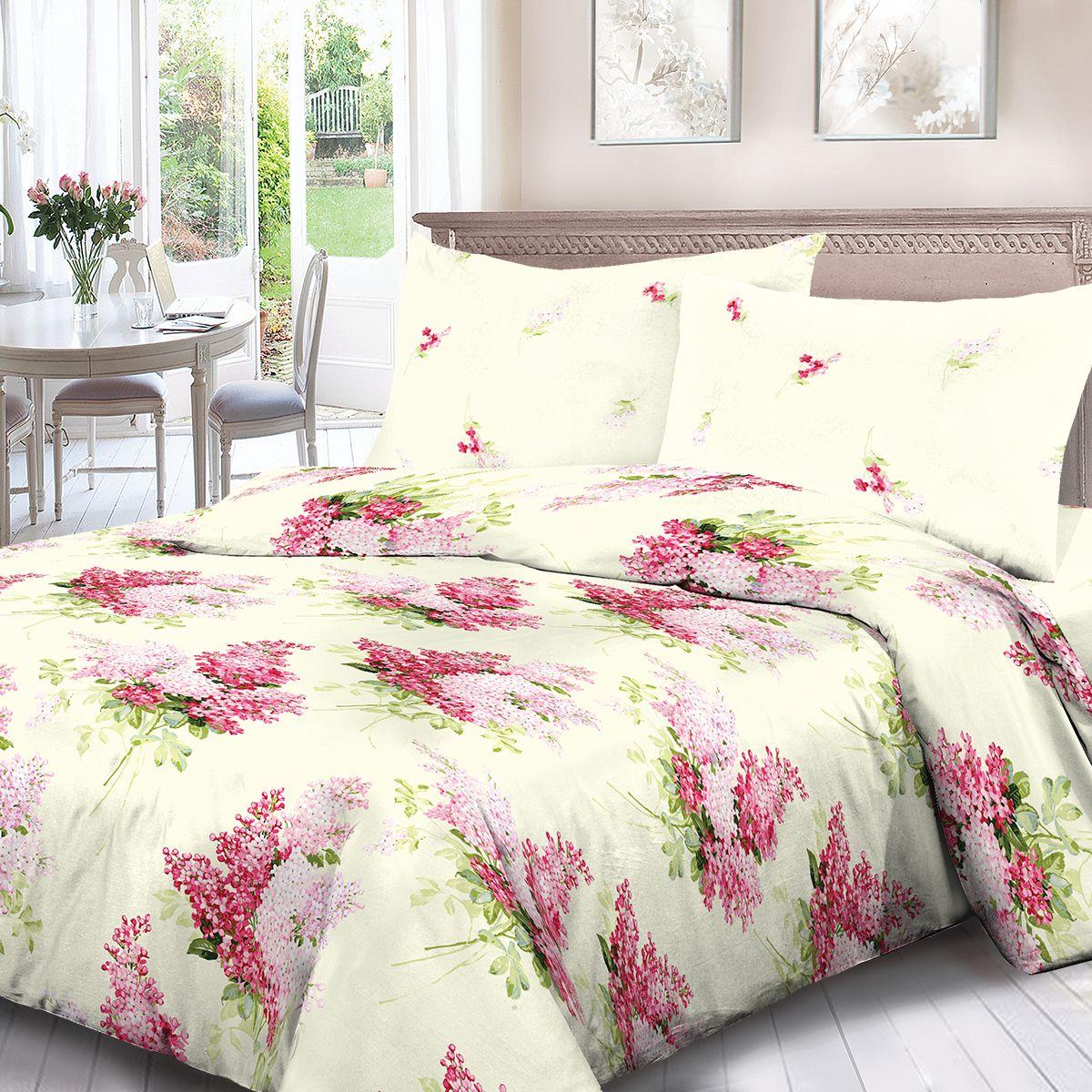 Комплект белья Для Снов Сирень, 1,5 спальное, наволочки 70x70, цвет: кремовый. 1623-181953