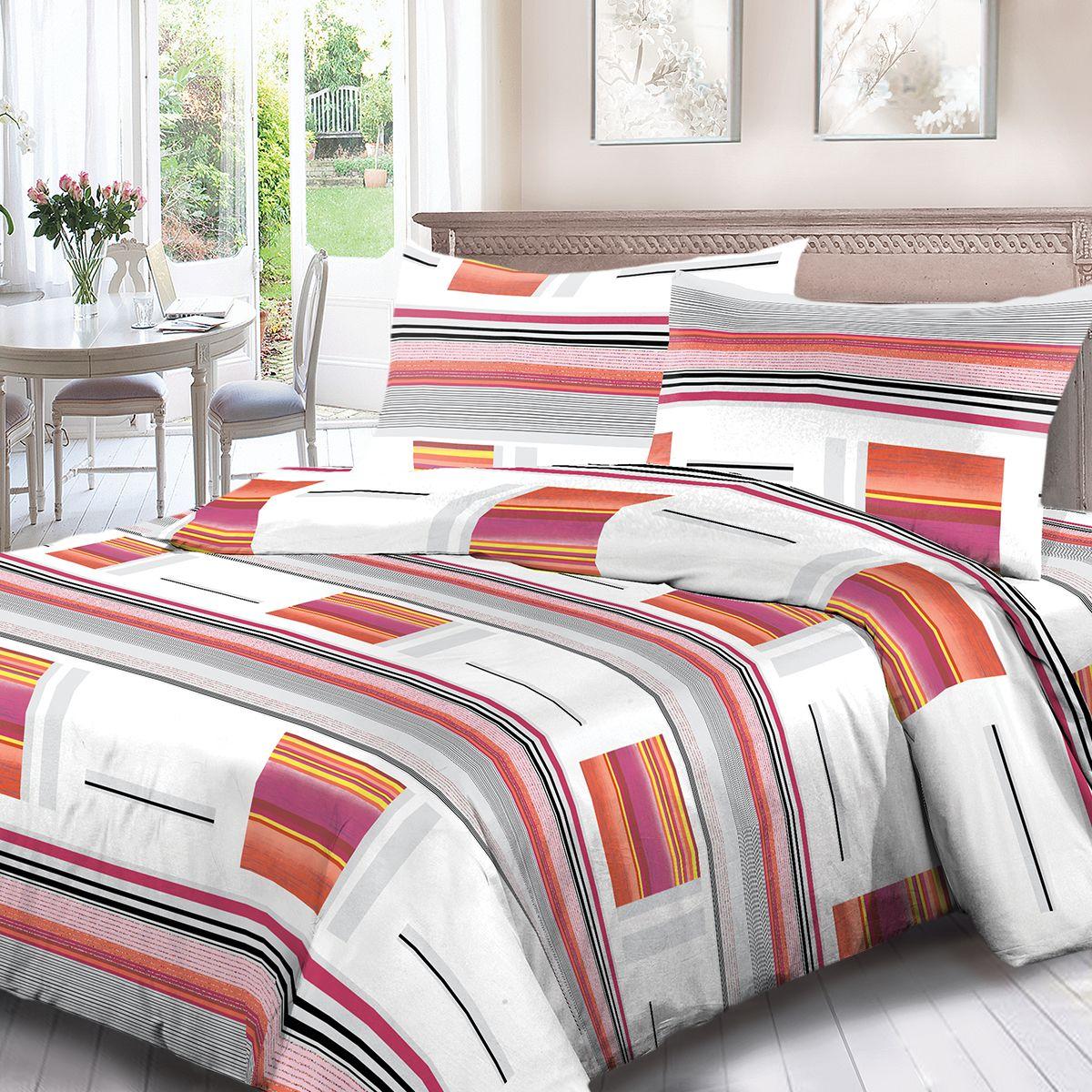 Комплект белья Для Снов Стокгольм, 2-х спальное, наволочки 70x70, цвет: красный. 1902-181976