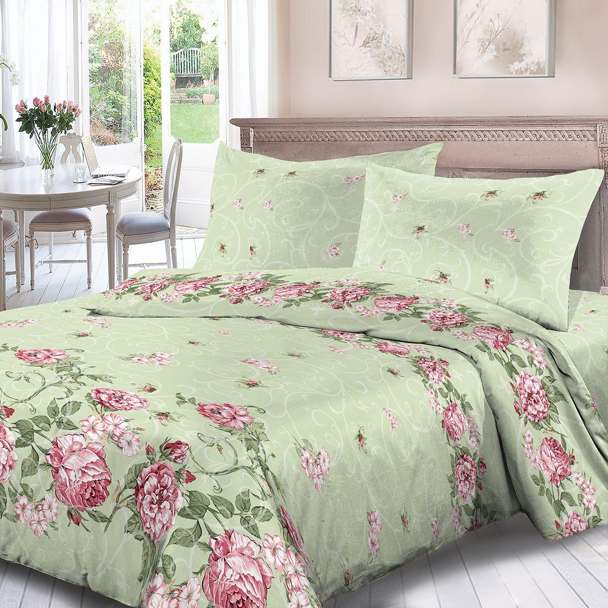Комплект белья Для Снов Майя, семейный, наволочки 70x70, цвет: зеленый. 1754-182003