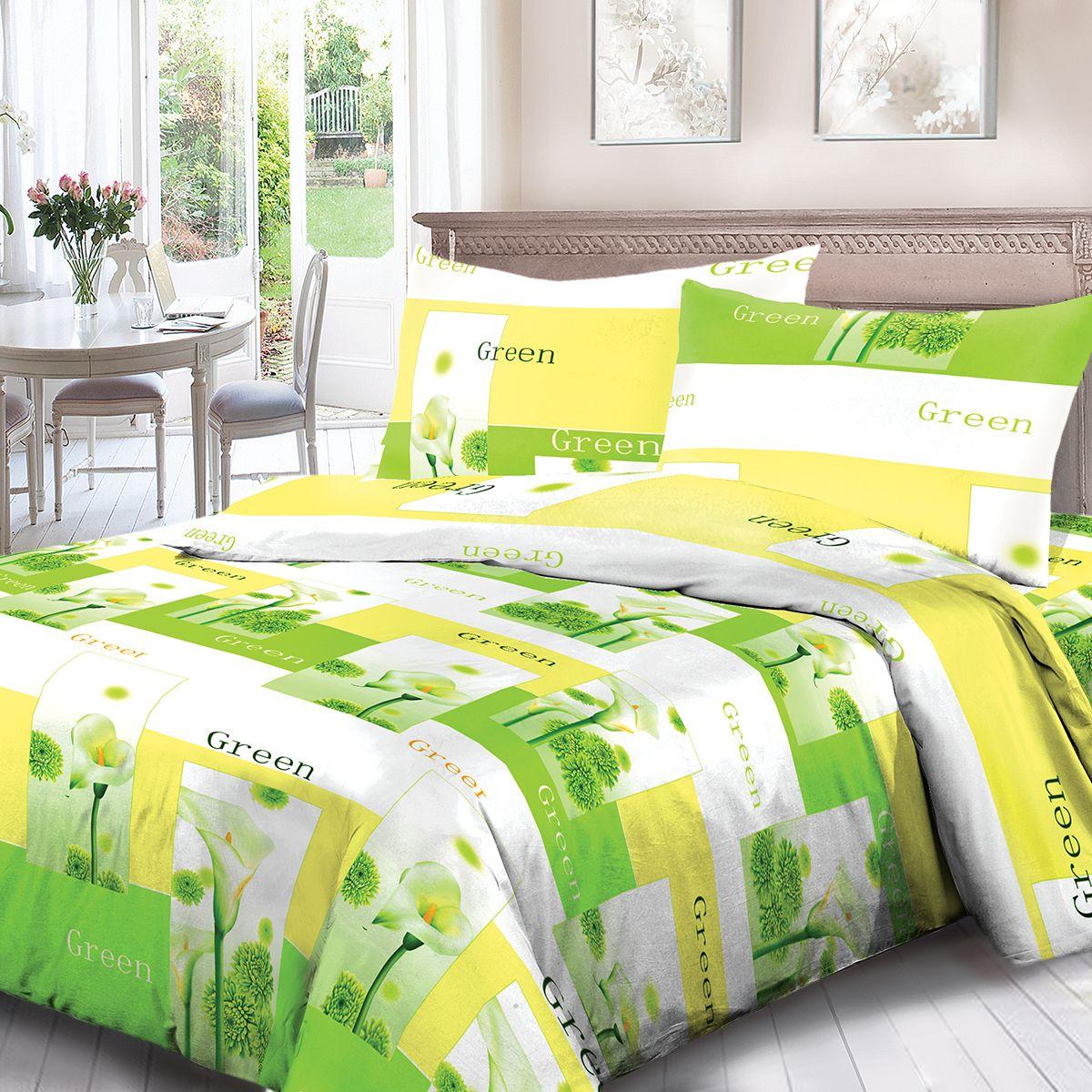 Комплект белья Для Снов Green, семейный, наволочки 70x70, цвет: зеленый. 1537-184348