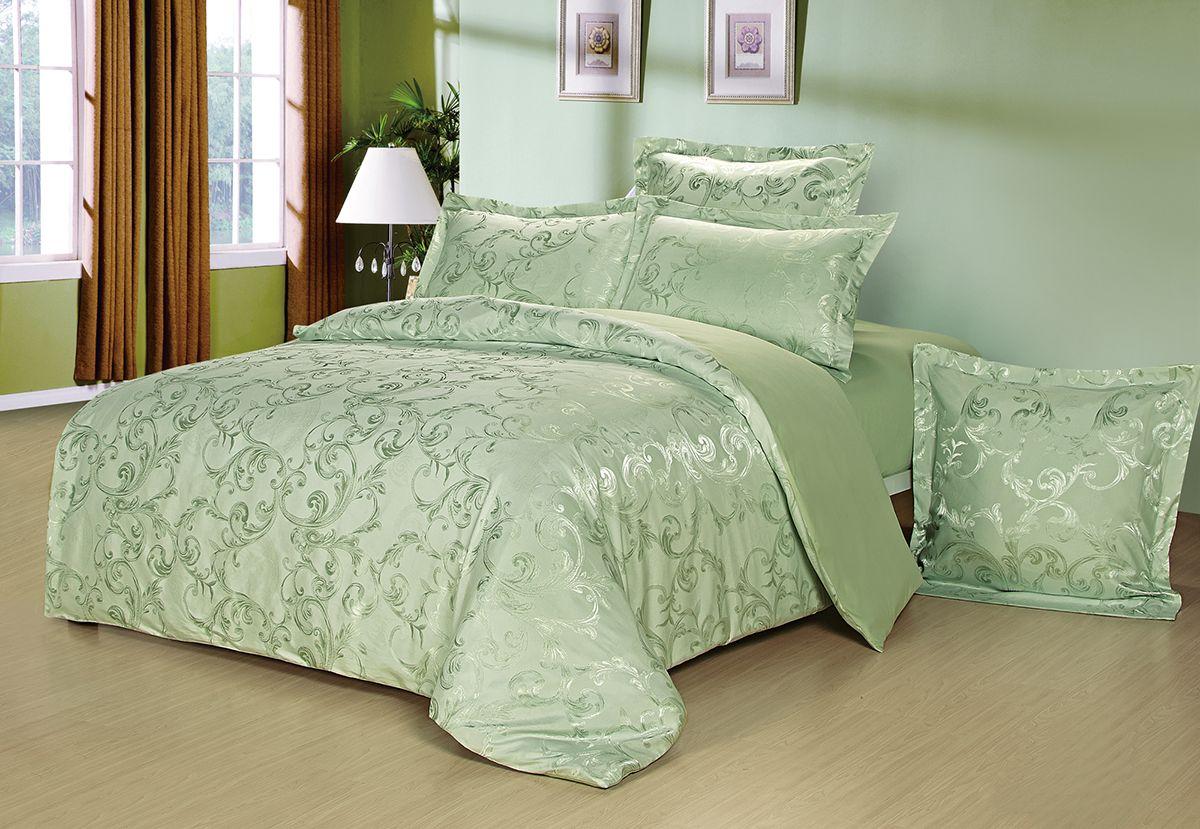 Комплект белья Versailles Мирабель, 2-спальный, наволочки 50x70, цвет: зеленыйCLP446Комплект постельного белья Versailles изготовлен из сатина, сотканного из хлопка с добавлением вискозных волокон. Белье дарит приятные тактильные ощущения на протяжении всего сна, а уникальные жаккардовые узоры придают танки мягкий блеск и обеспечивают материалу особую прочность. Постельное белье Versailles - отличный подарок на любое торжество и идеальный выбор для взыскательных покупателей. Комплект состоит из пододеяльника, простыни и двух наволочек. Состав: хлопок 70%, вискоза 30%