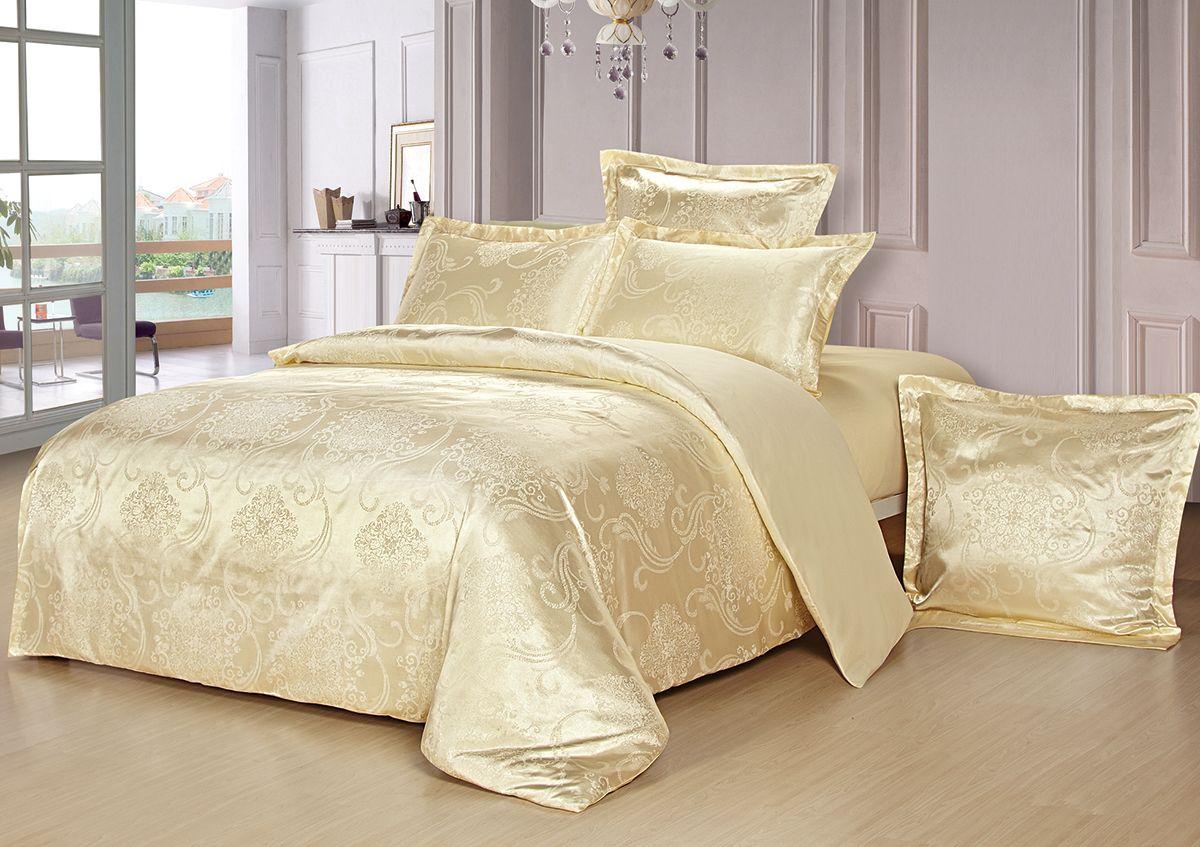 Комплект белья Versailles Монро, евро, наволочки 50x70, цвет: желтый10503Комплект постельного белья Versailles изготовлен из сатина, сотканного из хлопка с добавлением вискозных волокон. Белье дарит приятные тактильные ощущения на протяжении всего сна, а уникальные жаккардовые узоры придают танки мягкий блеск и обеспечивают материалу особую прочность. Постельное белье Versailles - отличный подарок на любое торжество и идеальный выбор для взыскательных покупателей. Комплект состоит из пододеяльника, простыни и четырех наволочек. Состав: хлопок 70%, вискоза 30%