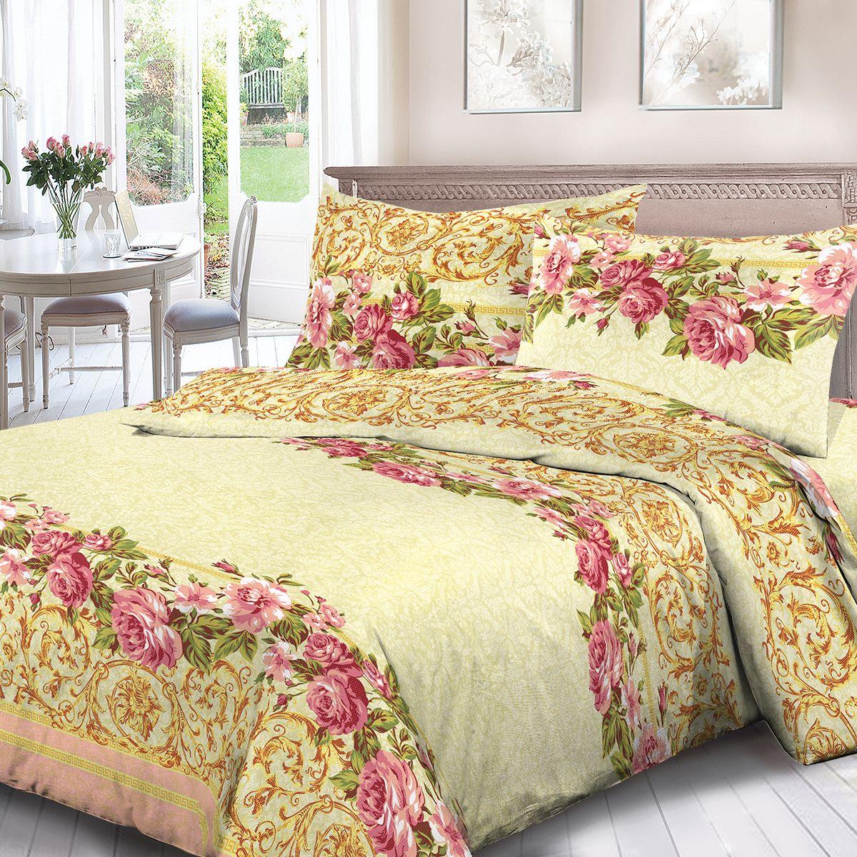 Комплект белья Для Снов Мэрлин, 2-х спальное, наволочки 70x70, цвет: желтый. 1721-186453