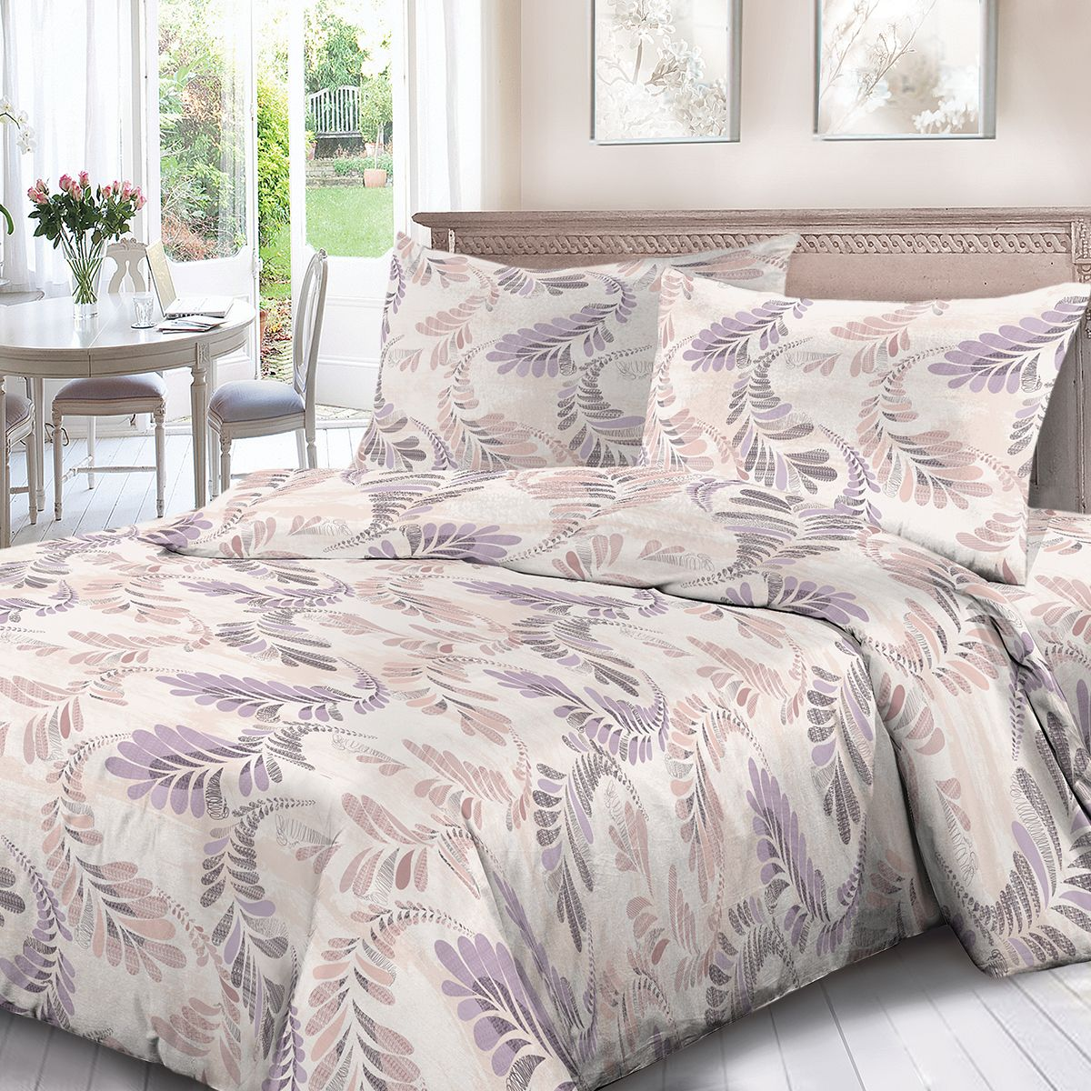 Комплект белья Для Снов Луисвилль, 2-х спальное, наволочки 70x70, цвет: сиреневый. 1910-186494