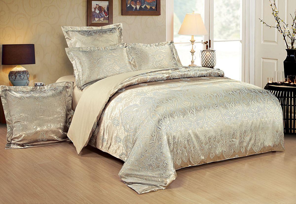 Комплект белья Versailles Дана, 2-спальный, наволочки 70x70, цвет: золотой86659Комплект постельного белья Versailles изготовлен из сатина, сотканного из хлопка с добавлением вискозных волокон. Белье дарит приятные тактильные ощущения на протяжении всего сна, а уникальные жаккардовые узоры придают танки мягкий блеск и обеспечивают материалу особую прочность. Постельное белье Versailles - отличный подарок на любое торжество и идеальный выбор для взыскательных покупателей. Комплект состоит из пододеяльника, простыни и двух наволочек. Состав: хлопок 70%, вискоза 30%