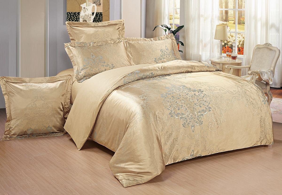 Комплект белья Versailles Роси, 2-спальный, наволочки 50x70, цвет: золотой74867Комплект постельного белья Versailles изготовлен из сатина, сотканного из хлопка с добавлением вискозных волокон. Белье дарит приятные тактильные ощущения на протяжении всего сна, а уникальные жаккардовые узоры придают танки мягкий блеск и обеспечивают материалу особую прочность. Постельное белье Versailles - отличный подарок на любое торжество и идеальный выбор для взыскательных покупателей. Комплект состоит из пододеяльника, простыни и двух наволочек. Состав: хлопок 70%, вискоза 30%