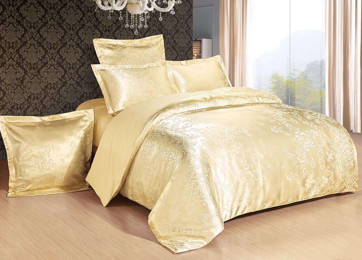 Комплект белья Versailles Клара, 2-спальный, наволочки 50x70, цвет: золотой01-0487-1Комплект постельного белья Versailles изготовлен из сатина, сотканного из хлопка с добавлением вискозных волокон. Белье дарит приятные тактильные ощущения на протяжении всего сна, а уникальные жаккардовые узоры придают танки мягкий блеск и обеспечивают материалу особую прочность. Постельное белье Versailles - отличный подарок на любое торжество и идеальный выбор для взыскательных покупателей. Комплект состоит из пододеяльника, простыни и двух наволочек. Состав: хлопок 70%, вискоза 30%
