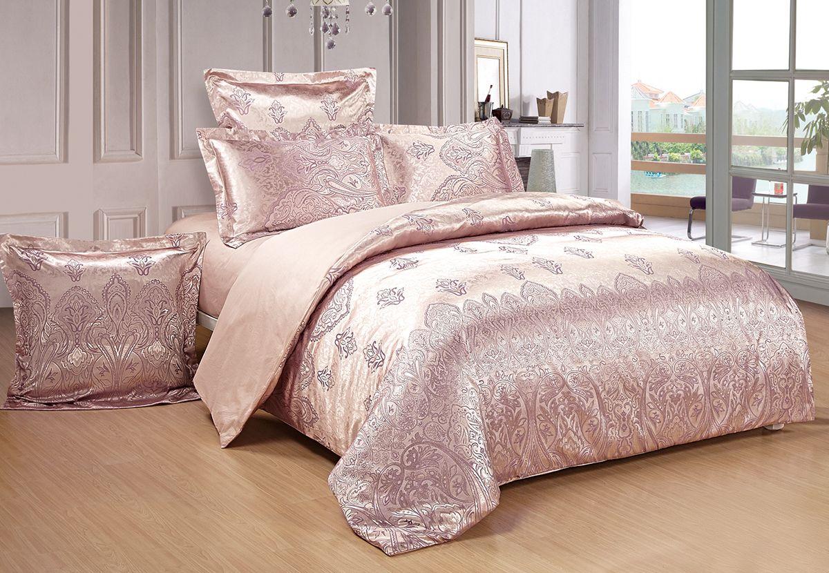 Комплект белья Versailles Дана, евро, наволочки 70x70, цвет: розовый10503Комплект постельного белья Versailles изготовлен из сатина, сотканного из хлопка с добавлением вискозных волокон. Белье дарит приятные тактильные ощущения на протяжении всего сна, а уникальные жаккардовые узоры придают танки мягкий блеск и обеспечивают материалу особую прочность. Постельное белье Versailles - отличный подарок на любое торжество и идеальный выбор для взыскательных покупателей. Комплект состоит из пододеяльника, простыни и четырех наволочек. Состав: хлопок 70%, вискоза 30%