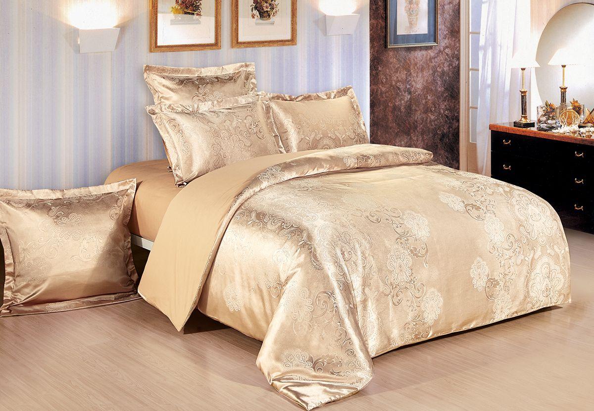 Комплект белья Versailles Джули, евро, наволочки 50x70, цвет: золотойFD-59Комплект постельного белья Versailles изготовлен из сатина, сотканного из хлопка с добавлением вискозных волокон. Белье дарит приятные тактильные ощущения на протяжении всего сна, а уникальные жаккардовые узоры придают танки мягкий блеск и обеспечивают материалу особую прочность. Постельное белье Versailles - отличный подарок на любое торжество и идеальный выбор для взыскательных покупателей. Комплект состоит из пододеяльника, простыни и четырех наволочек. Состав: хлопок 70%, вискоза 30%