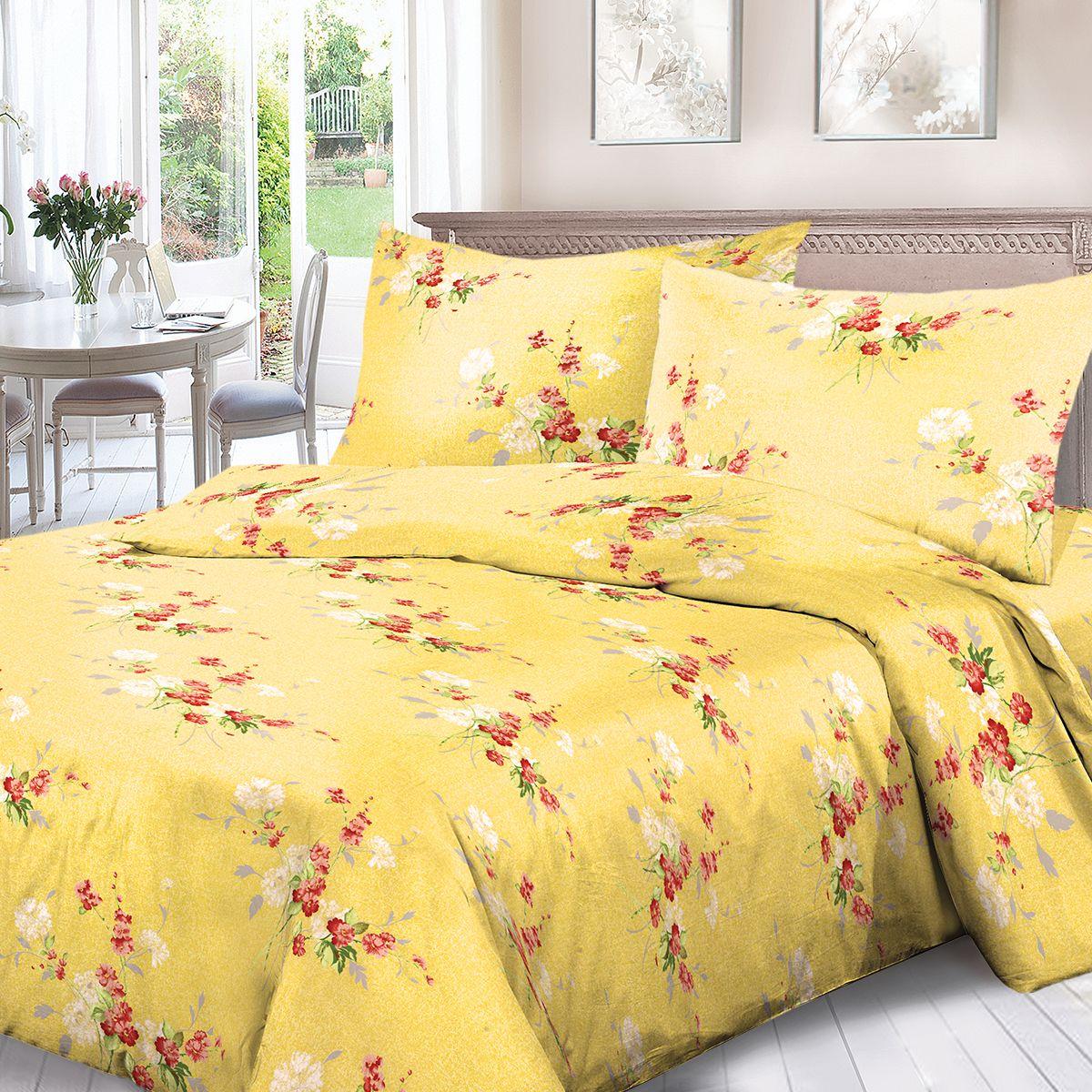 Комплект белья Для Снов Амброзия, 1,5 спальное, наволочки 70x70, цвет: желтый. 1536-187326