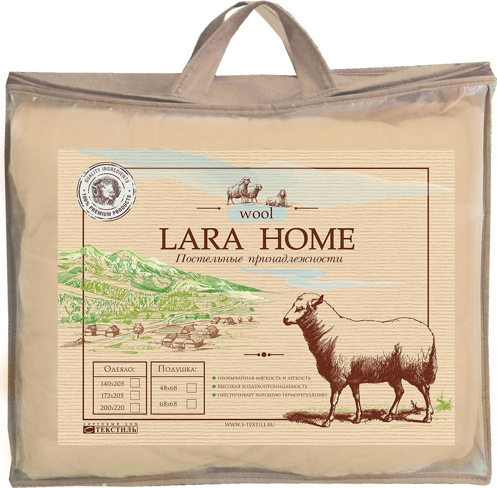 Подушка Lara Home Wool, всесезонное, цвет: белый, 200 х 220 см531-401Наполнитель: пласт овечья шерсть +силиконизированное волокно