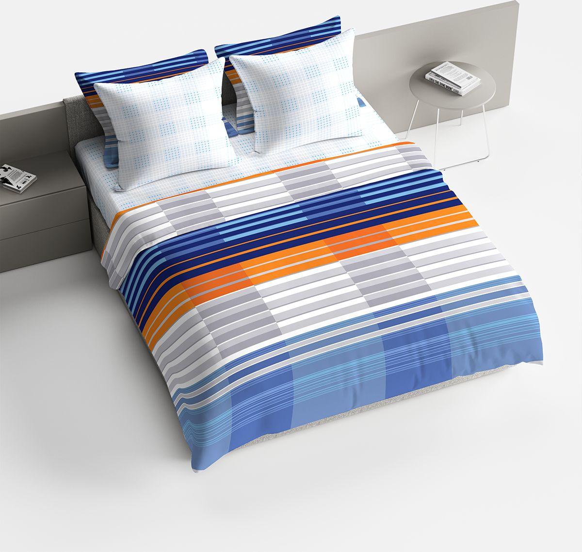 Комплект белья Браво Марино, 2-спальное, наволочки 70x70, цвет: синий74-0060Комплекты постельного белья из ткани LUX COTTON (высококачественный поплин), сотканной из длинноволокнистого египетского хлопка, созданы специально для людей с оригинальным вкусом, предпочитающим современные решения в интерьере. Обновленная стильная упаковка делает этот комплект отличным подарком. • Равноплотная ткань из 100% хлопка;• Обработана по технологии мерсеризации и санфоризации;• Мягкая и нежная на ощупь;• Устойчива к трению;• Обладает высокими показателями гигроскопичности (впитывает влагу);• Выдерживает частые стирки, сохраняя первоначальные цвет, форму и размеры;• Безопасные красители ведущего немецкого производителя BEZEMA