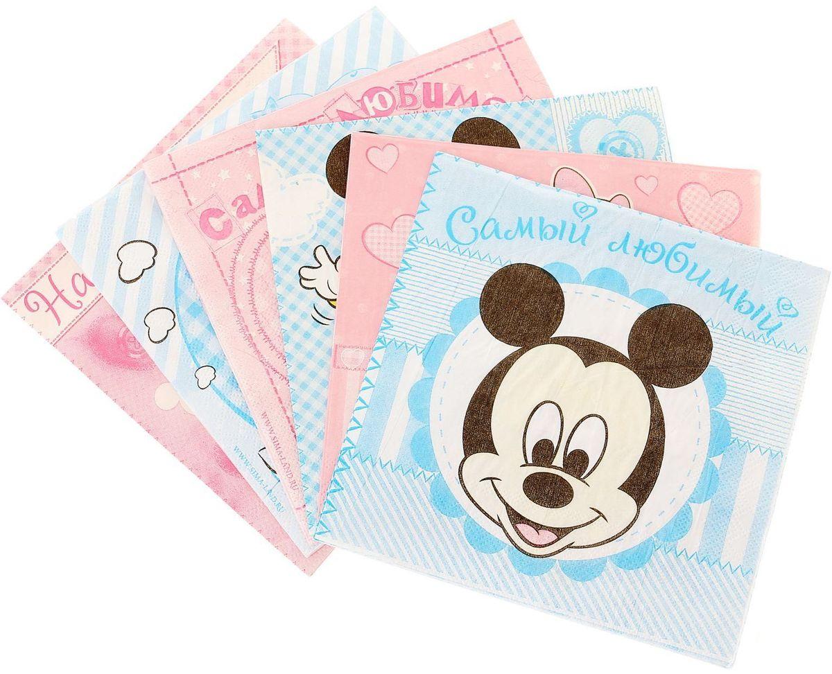 Набор салфеток для декупажа Disney Дисней Бэби. Малыши Микки и Минни, 33 х 33 см, 6 штC0038550Набор салфеток для декупажа изготовлен из тонкой, но качественной бумаги. Легко приклеится к основе и сохранит при этом насыщенность красок и четкость линий.Создавайте свои уникальные шедевры!