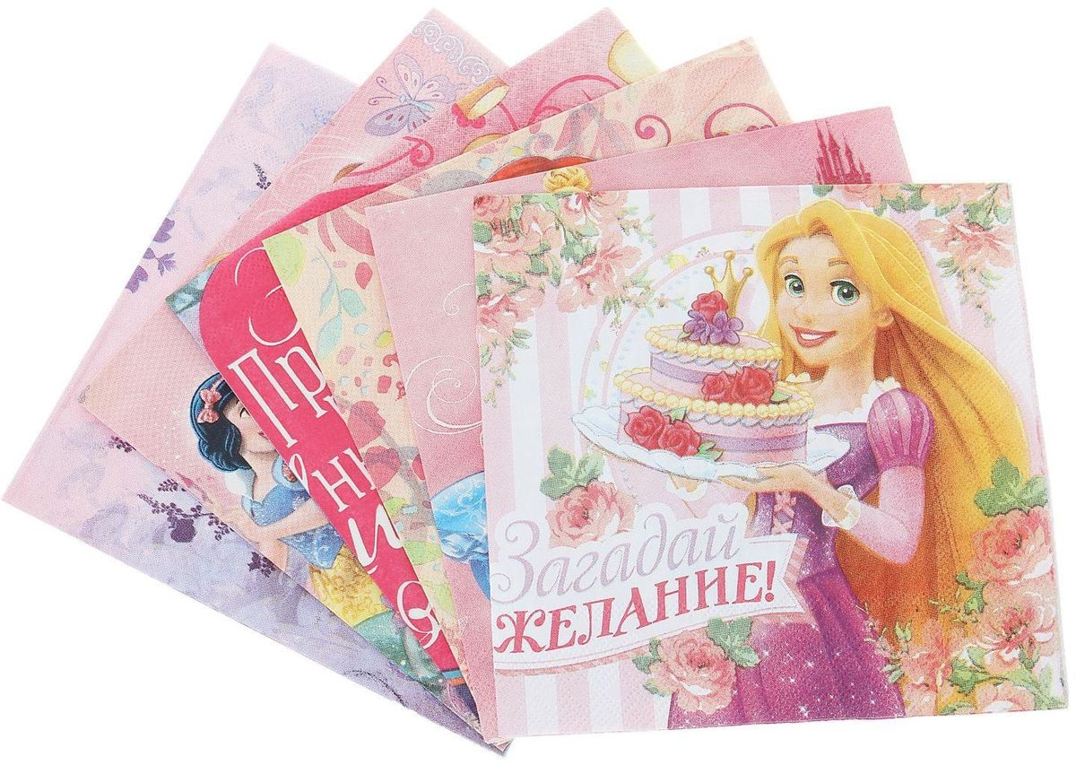 Набор салфеток для декупажа Disney Принцессы. Любимые принцессы, 33 х 33 см, 6 штNLED-454-9W-BKНабор салфеток для декупажа изготовлен из тонкой, но качественной бумаги. Легко приклеится к основе и сохранит при этом насыщенность красок и четкость линий.Создавайте свои уникальные шедевры!