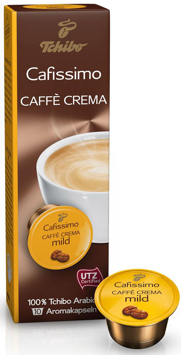 Cafissimo Caffe Crema Mild кофе в капсулах, 10 шт0120710Cafissimo познакомит вас с изысканным кофе, собранном на превосходных кофейных плантациях. Каждая кофейная капсула Tchibo содержит гармоничную композицию из лучших зерен Arabica, которые медленно вызревали на солнечных полях. Тщательно отобранные для вас профессионалами и прошедшие индивидуальную обжарку зерна Tchibo идеально передают неповторимый мягкий аромат кофе с бархатной крем-пенкой.Подходит к капсульным кофемашинам: Caffitaly, Tchibo.