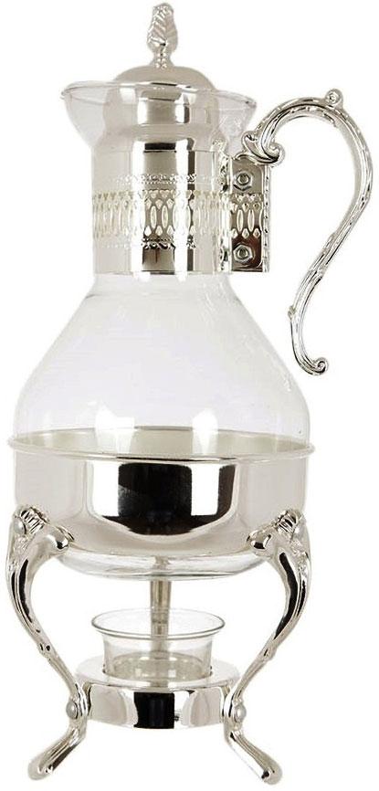 Чайник заварочный Marquis, 1,6 л. 8011-MR26257Чайник с подогревом станет отличным украшением праздничного стола. Чайник, изготовленный из стекла и стали с серебряно-никелевым покрытием, позволит вам довольно длительное время сохранять температуру воды. Ножки и ручка декорированы белыми стразами. Действие подогрева основано на принципе водяной бани. Чайник расположен на подставке, на которой установлена свеча, нагревающая воду.