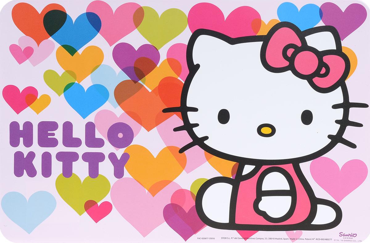 Hello Kitty Салфетка под горячее Сердечки115510Салфетка под горячее Hello Kitty не только украсит стол, но и защитит его от различных повреждений.Она выполнена из плотного материала и красочно оформлена разноцветными сердечками с изображением героя популярного мультфильма Hello Kitty - кошечки Kitty. Салфетку можно использовать как под посуду, так и просто для украшения интерьера.Не использовать в СВЧ-печах и посудомоечных машинах.