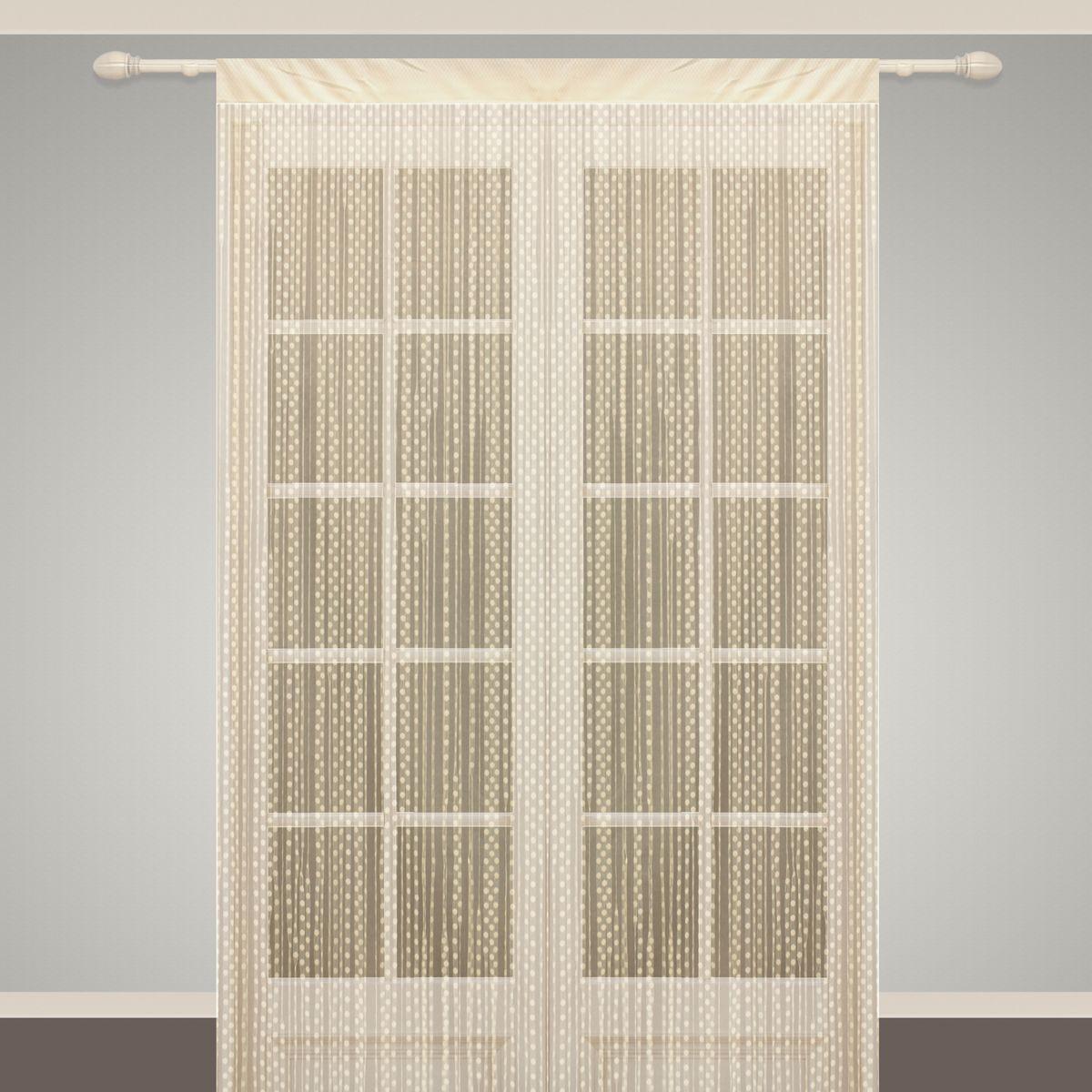 Штора нитяная Sanpa Home Collection, на ленте, цвет: бежевый, высота 290 смS03301004Штора нитяная Sanpa Home Collection, выполненная из текстиля, подходит как для зонирования пространства, так и для декорации окна, как самостоятельное решение или дополнение к шторам. Такая штора великолепно дополнит интерьер вашего дома и станет отличным дизайнерским решением.