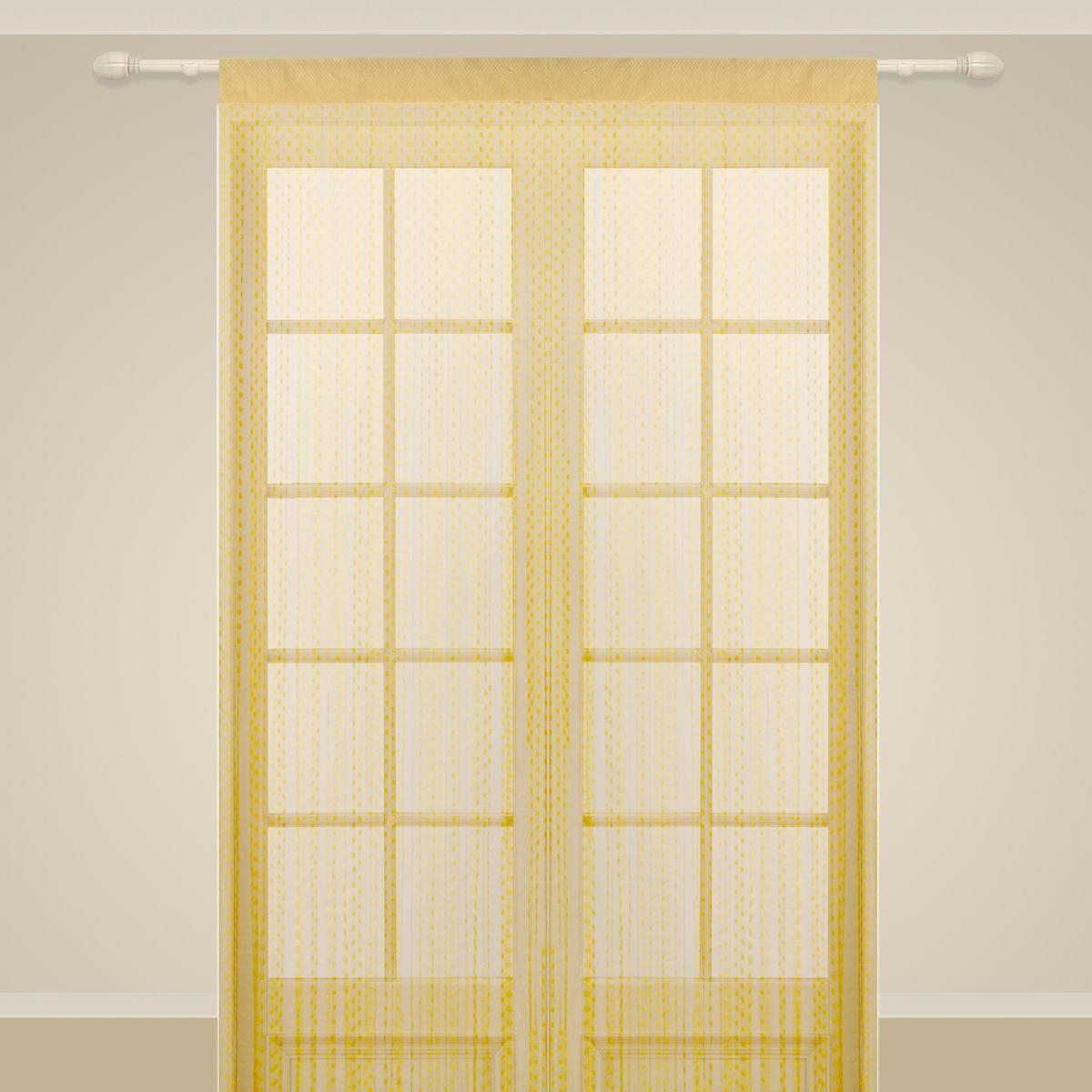 Штора нитяная Sanpa Home Collection, на ленте, цвет: золотистый, высота 290 см1004900000360Штора нитяная Sanpa Home Collection, выполненная из текстиля, подходит как для зонирования пространства, так и для декорации окна, как самостоятельное решение или дополнение к шторам. Такая штора великолепно дополнит интерьер вашего дома и станет отличным дизайнерским решением.