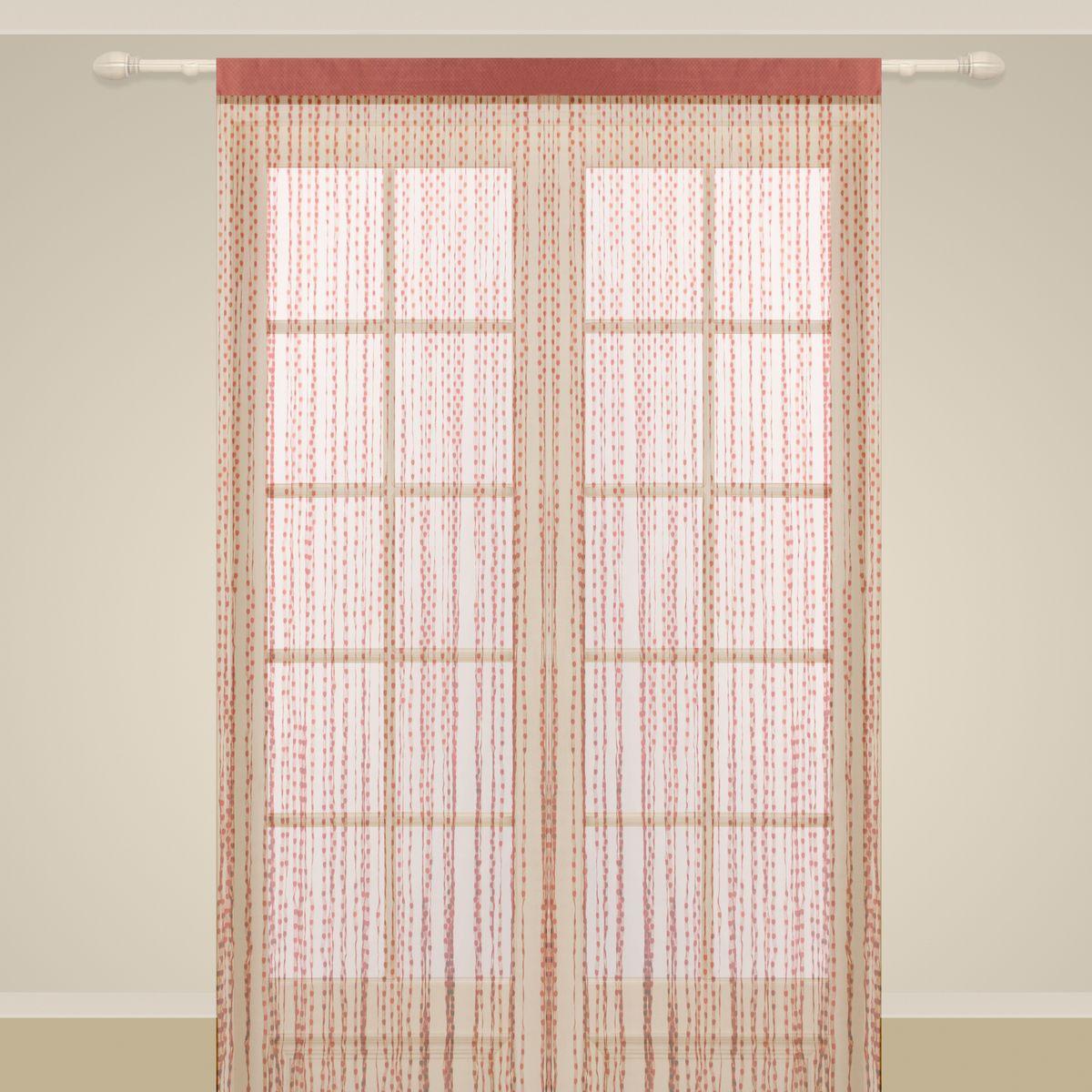 Штора нитяная Sanpa Home Collection, на ленте, цвет: темно-розовый, высота 290 смSVC-300Штора нитяная Sanpa Home Collection, выполненная из текстиля, подходит как для зонирования пространства, так и для декорации окна, как самостоятельное решение или дополнение к шторам. Такая штора великолепно дополнит интерьер вашего дома и станет отличным дизайнерским решением.