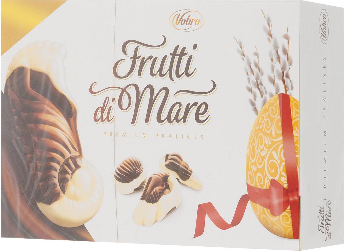 Vobro Frutti di Mare набор шоколадных конфет в виде морских ракушек, 350 г0120710Vobro Frutti di Mare - это конфеты, в виде морских обитателей, из темного и белого шоколада, начиненный четырьмя начинками со вкусами: какао, ореховым, молочным и тоффи. Эти шоколадные ракушки с разным вкусом надолго оставляют приятные вкусовые впечатления, а их дополнительным достоинством является их неповторимая форма. Вместе образуют прекрасный сладкий подарок