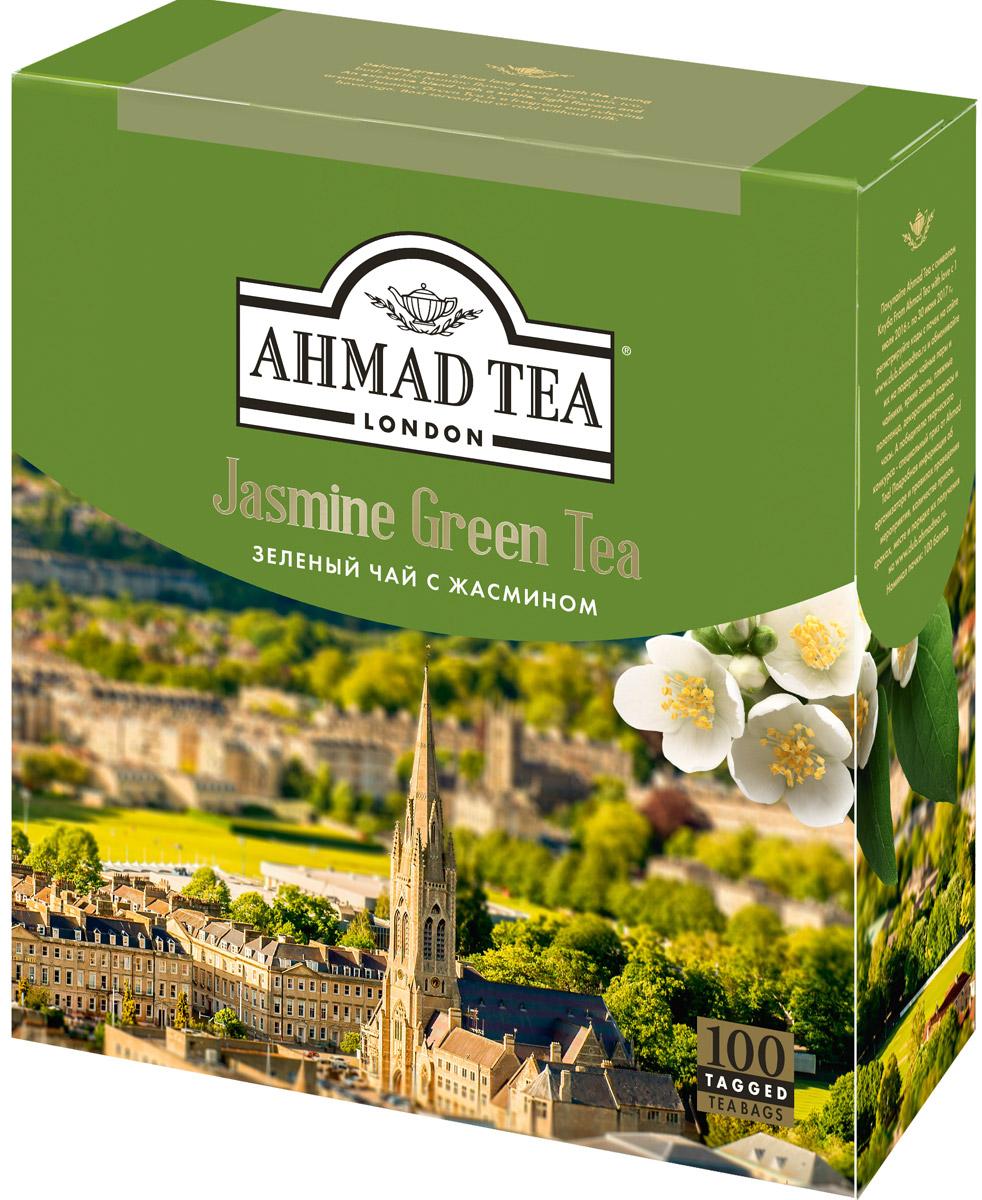 Ahmad Tea зеленый чай с жасмином в пакетиках, 100 шт475-08Ahmad Jasmine Green Tea - деликатный купаж китайского длиннолистового чая с бутонами и цветами жасмина. При заваривании дает настой золотисто-зеленого цвета со сладким вкусом и ароматом жасмина, и тонким ореховым послевкусием.Заваривать 3-5 минут, температура воды 90°С.Уважаемые клиенты! Обращаем ваше внимание на то, что упаковка может иметь несколько видов дизайна. Поставка осуществляется в зависимости от наличия на складе.