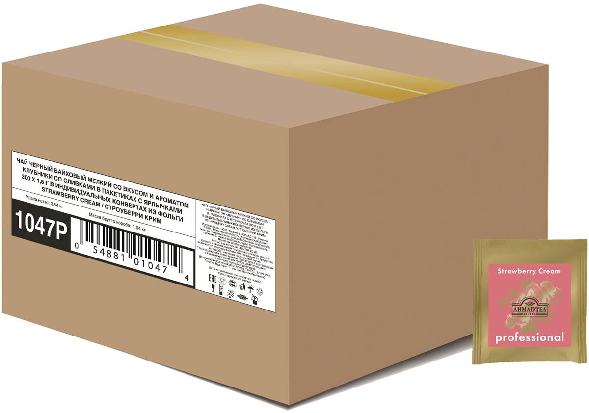 Ahmad Tea Strawberry Cream черный чай в пакетиках, 300 шт1047NСочетание клубники со сливками в Ahmad Tea Strawberry Cream - это классический десертный дуэт, в котором главную ноту играет клубника в томном сливочном соусе. В этом купаже вкус черного цейлонского чая дополнен сладкими ванильными нотами.Уважаемые клиенты! Обращаем ваше внимание на то, что упаковка может иметь несколько видов дизайна. Поставка осуществляется в зависимости от наличия на складе.