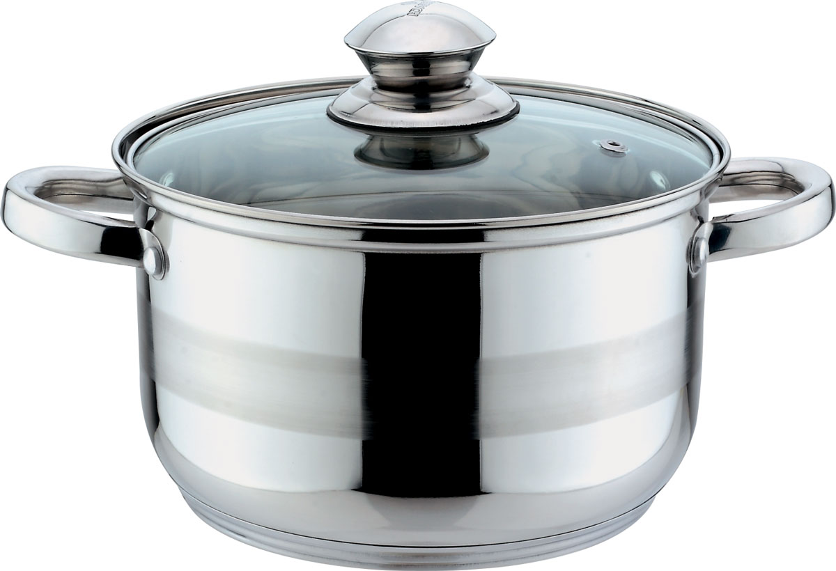 Кастрюля Bekker Jumbo, с крышкой, 1,9 л54 009312Кастрюля объемом 1,9 л (16 см), крышка стеклянная, ручки из нержавеющей стали, капсулированное дно, мерная шкала на внутренней стенке, поверхность зеркальная с матовой полосой. Подходит для индукционных плит и чистки в посудомоечной машине. Состав: нержавеющая сталь.