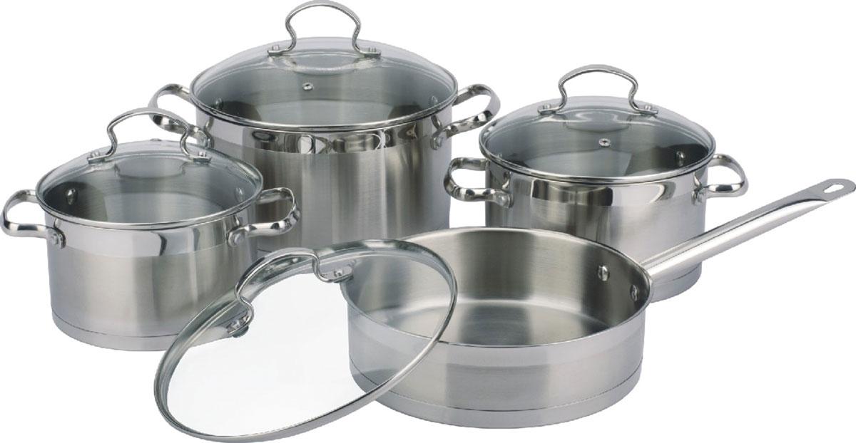Набор посуды Bekker Premium, 8 предметов54 009312В набор входит 8 предметов: 3 кастрюли 3,5 л (20 см), 4,6 л (22 см), 5,9 л (24 см), сковорода 3 л (24 см), крышки стеклянные, ручки из нержавеющей стали, капсульное дно, поверхность матовая с зеркальной полосой. Состав: нержавеющая сталь.